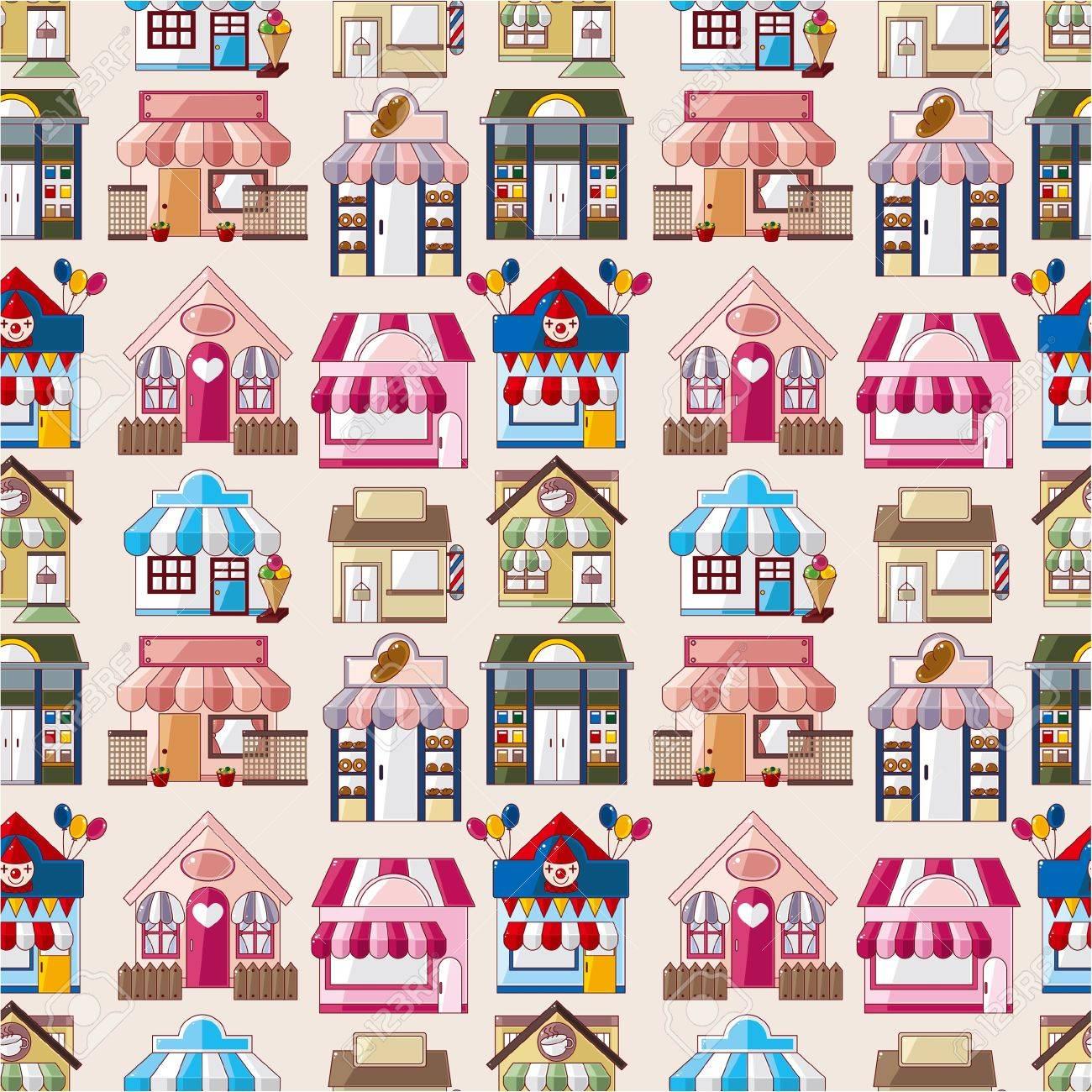 cartoon house / shop seamless pattern Stock Vector - 10284565