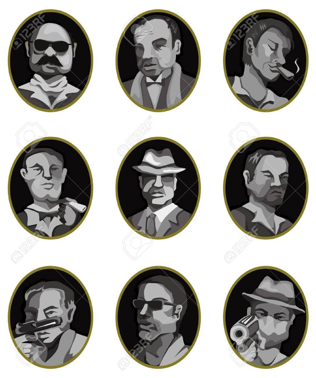 cartoon mafia icon set,label button Stock Vector - 10317426