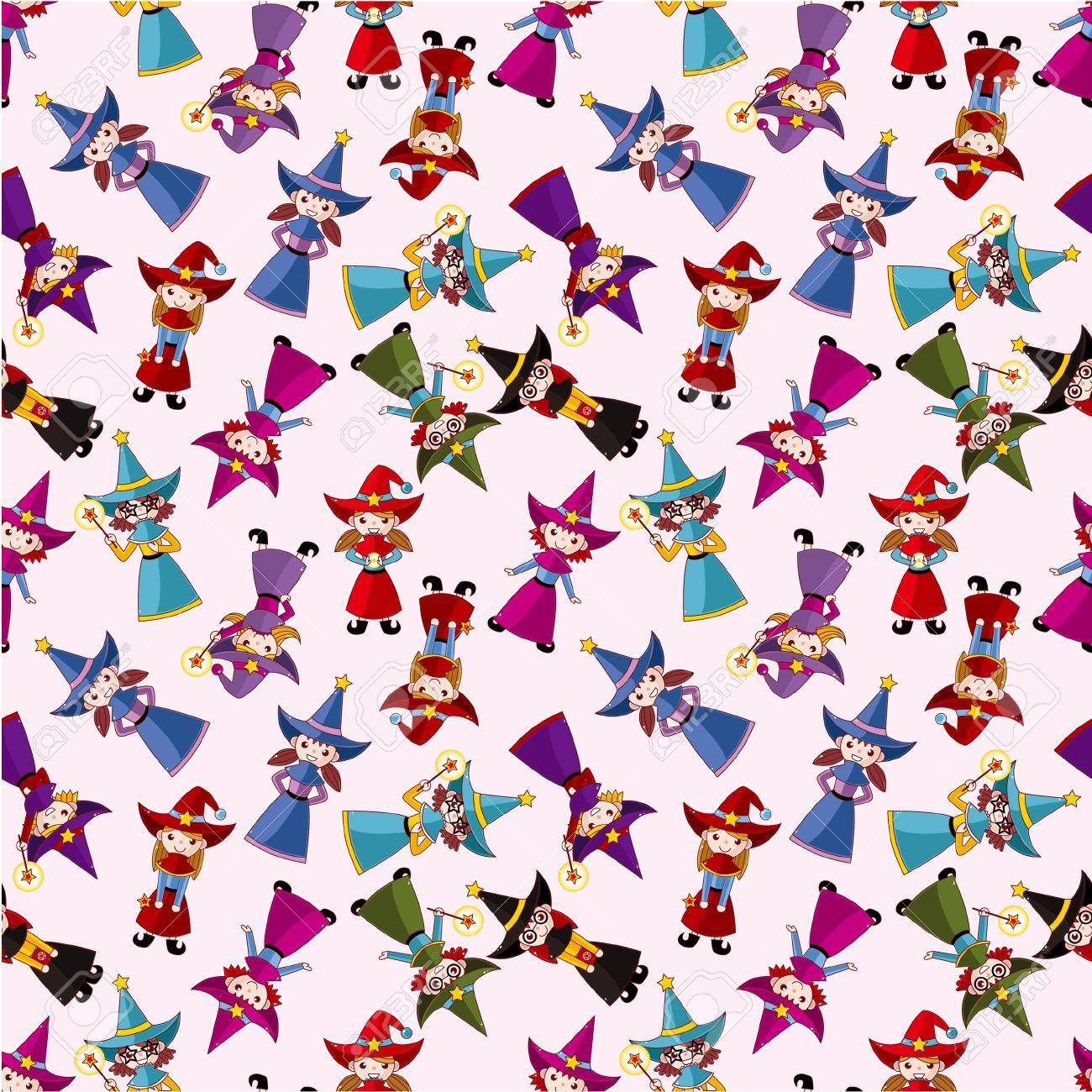 cartoon Wizard and Witch magic seamless pattern Stock Vector - 10317431