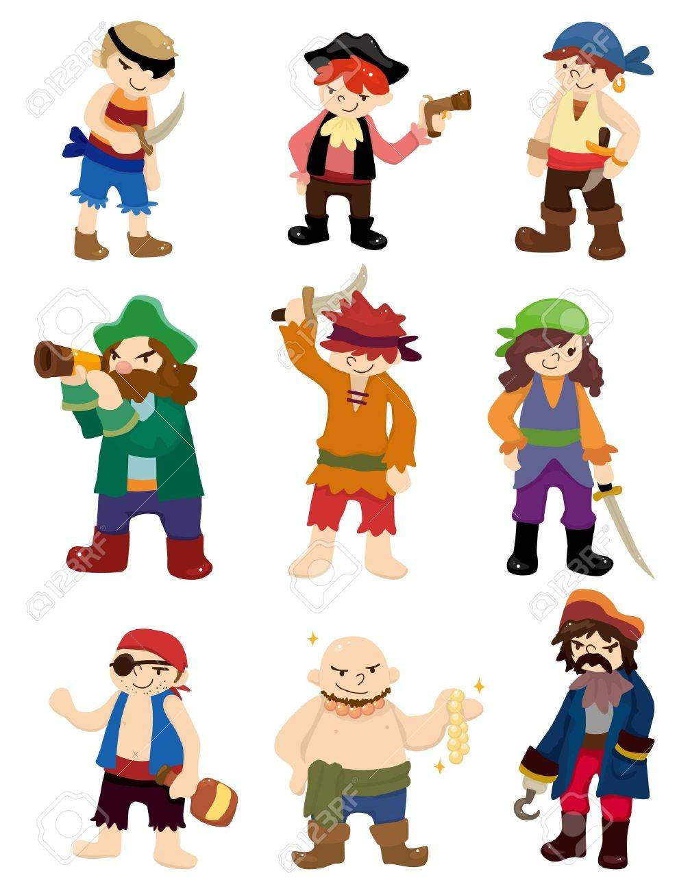 cartoon pirate icon set Stock Vector - 10390050