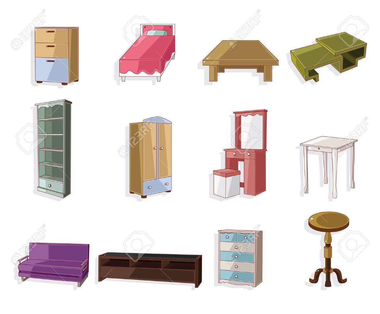 cute cartoon furniture icon set Stock Vector - 10399959
