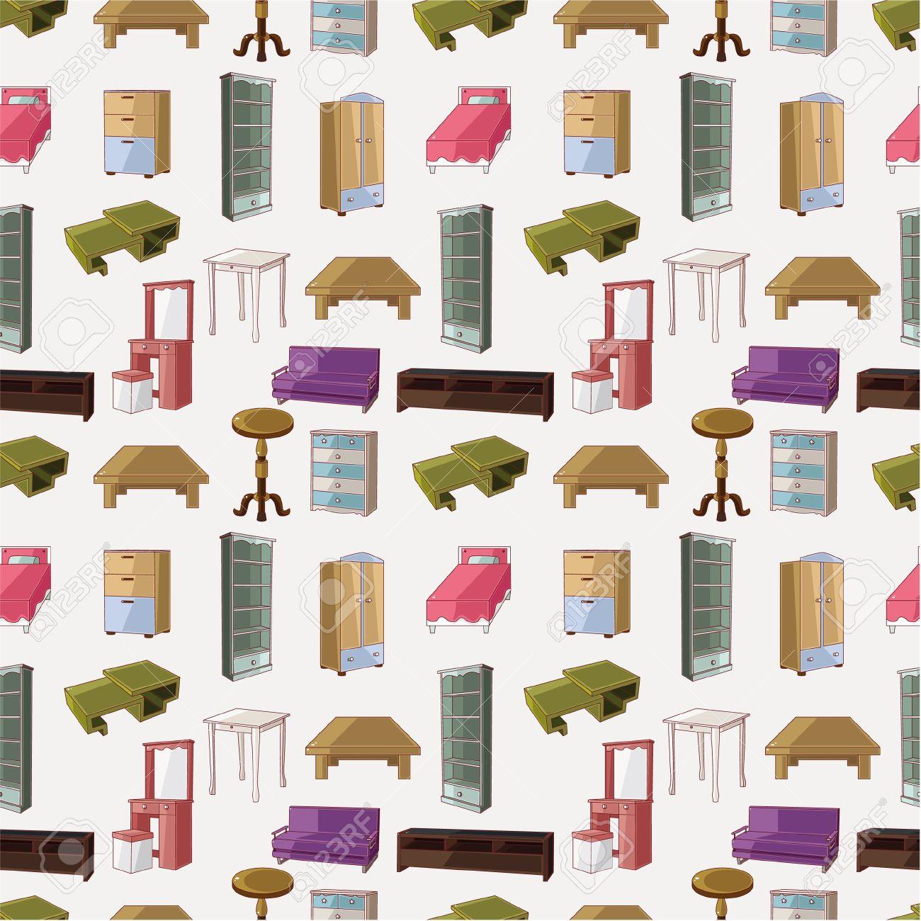 Patr N De Dibujos Animados Lindos Muebles Sin Problemas  # Muebles Dibujos Animados