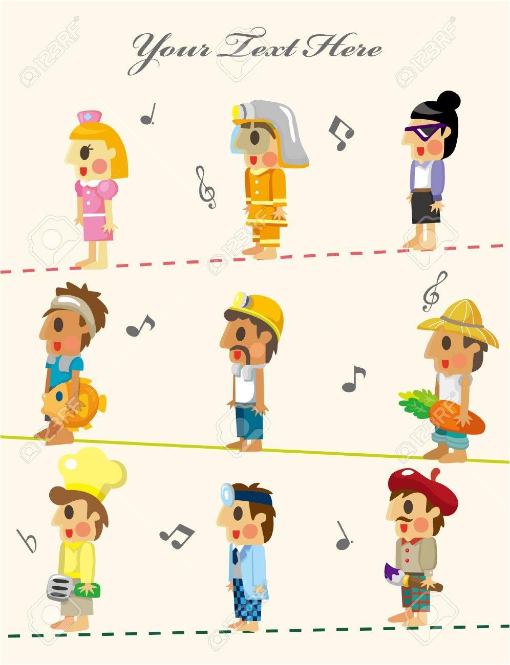 cartoon people job seamless pattern Stock Vector - 10399967
