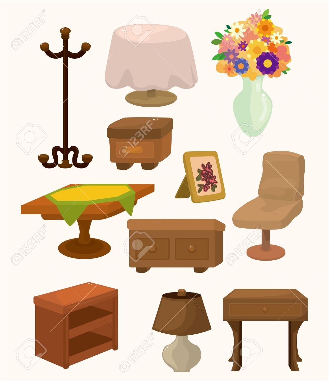 Tables and chairs cartoon - Table And Chairs Isolated Cartoon Furniture Icons