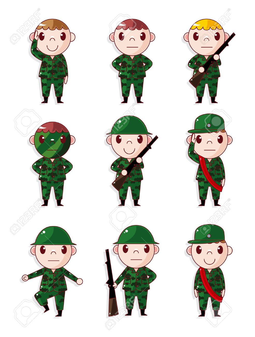 cartoon Soldier icons set Stock Vector - 10513083