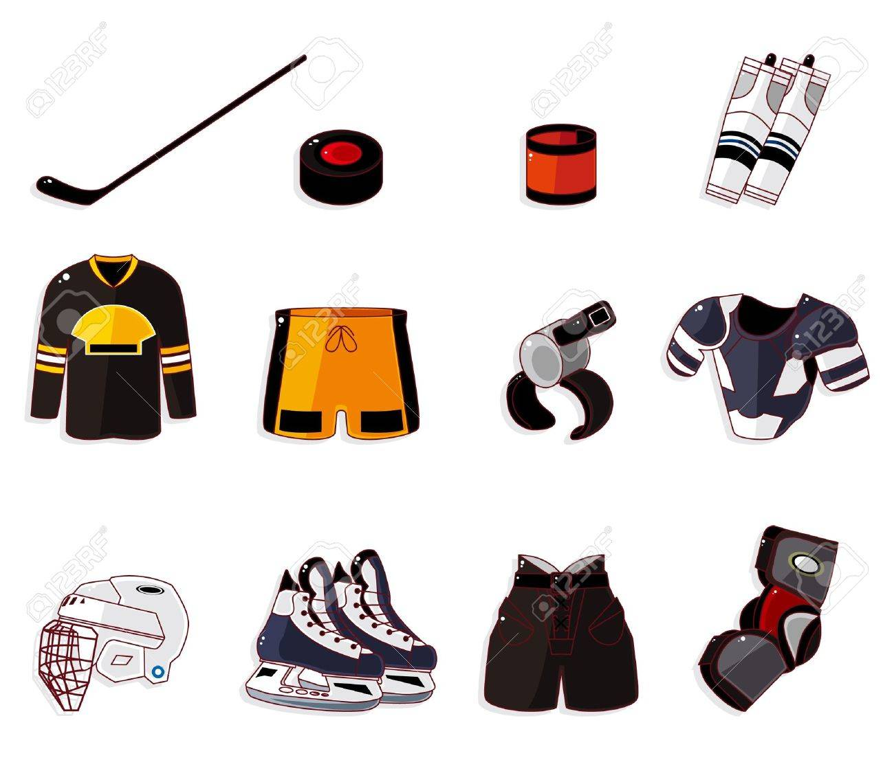 Vector ice hockey icon set Stock Vector - 10588881