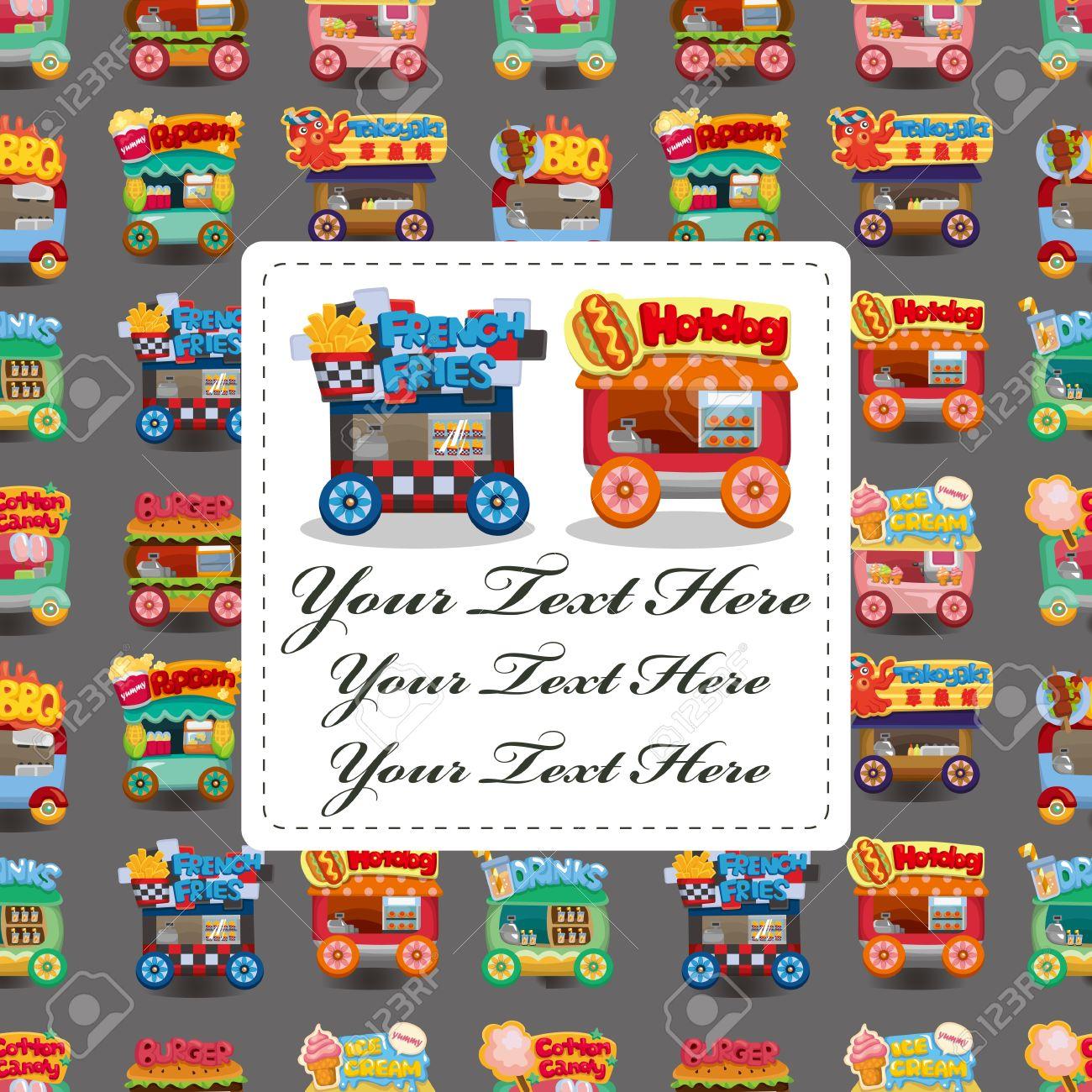 Cartoon market store car card Stock Vector - 10673014