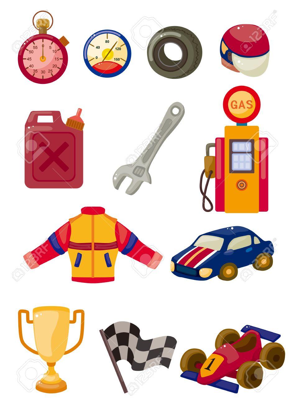 Cartoon F1 Car Racing Icon Set Royalty Free Cliparts Vectors And Stock Illustration Image 10695179