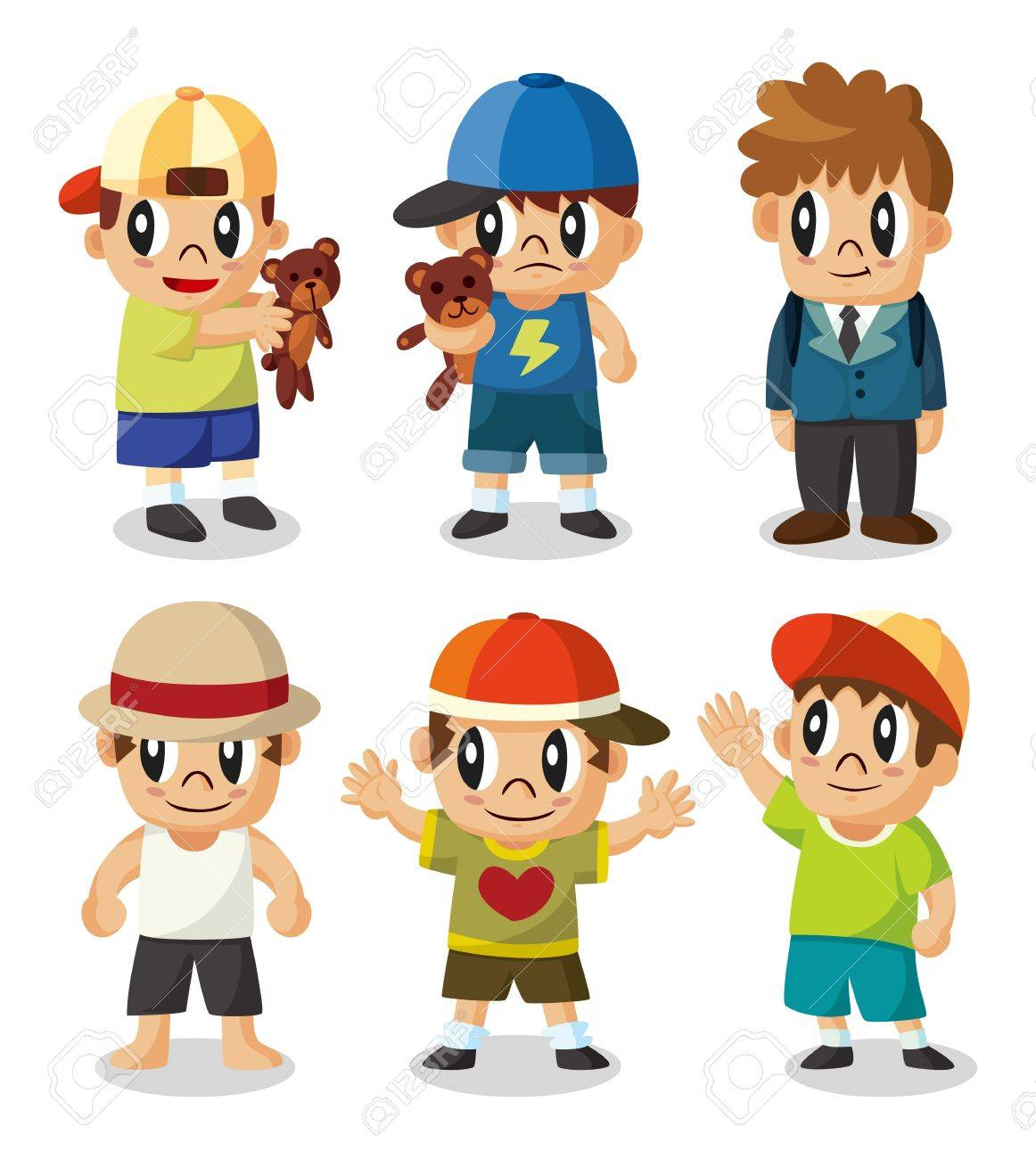 vector cartoon kid icon set - Cartoon Kid Images