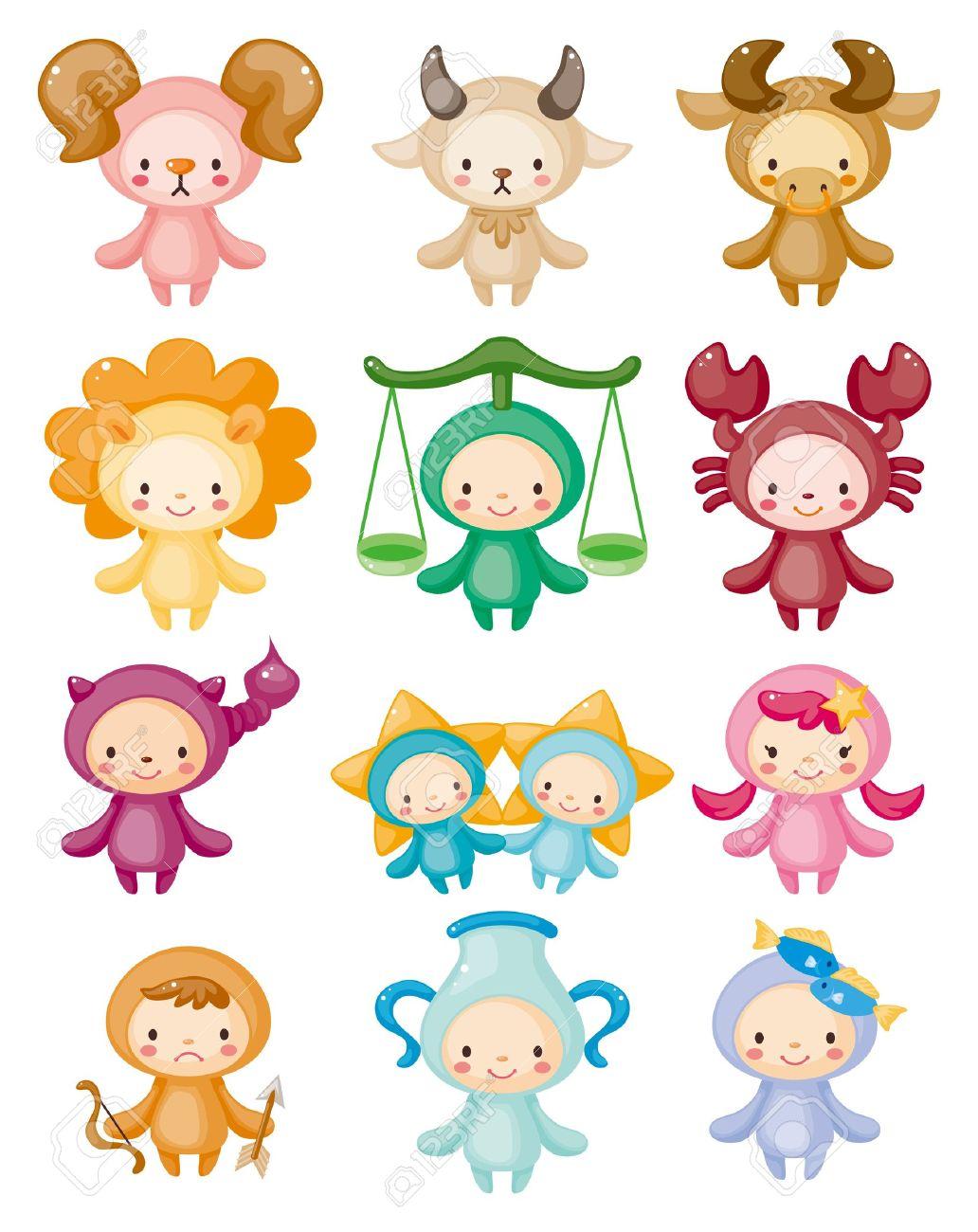 Set of isolated cute zodiac symbols Stock Vector - 10886811