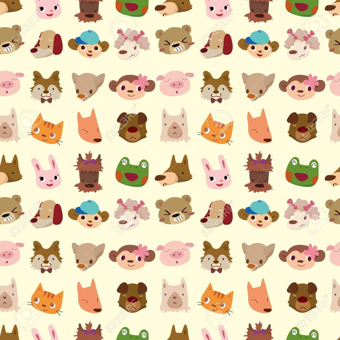 cartoon animal face seamless pattern Stock Vector - 11158412