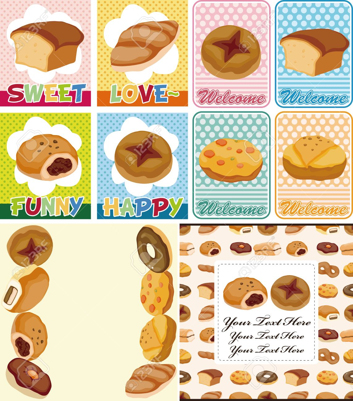 Cartoon Bread Card Royalty Free Cliparts Vectors And Stock