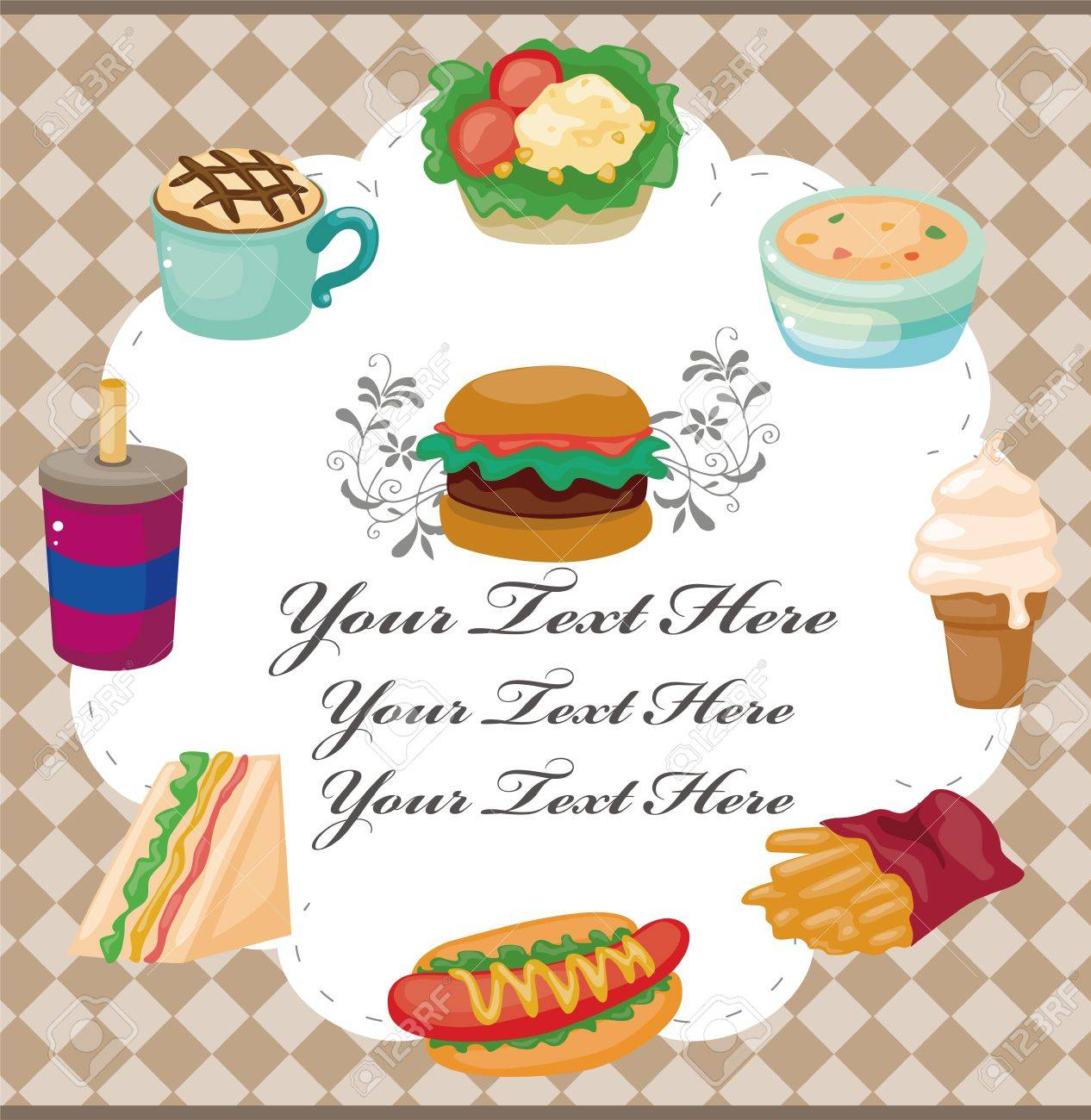 Cartoon fast-food card Stock Vector - 11529483