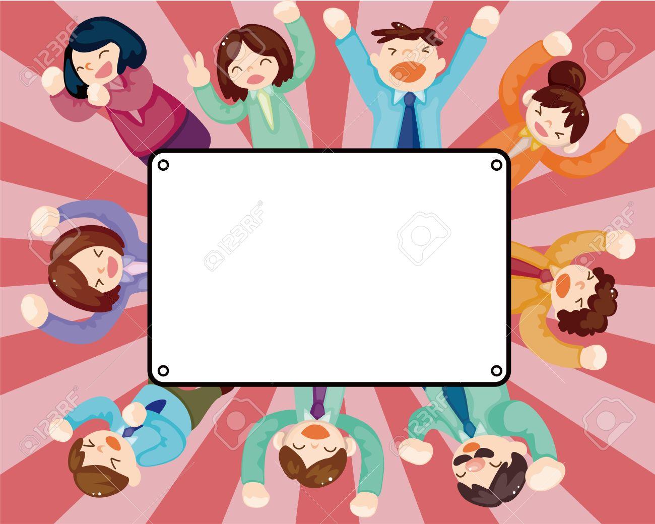 cartoon happy office workers  card Stock Vector - 11659328