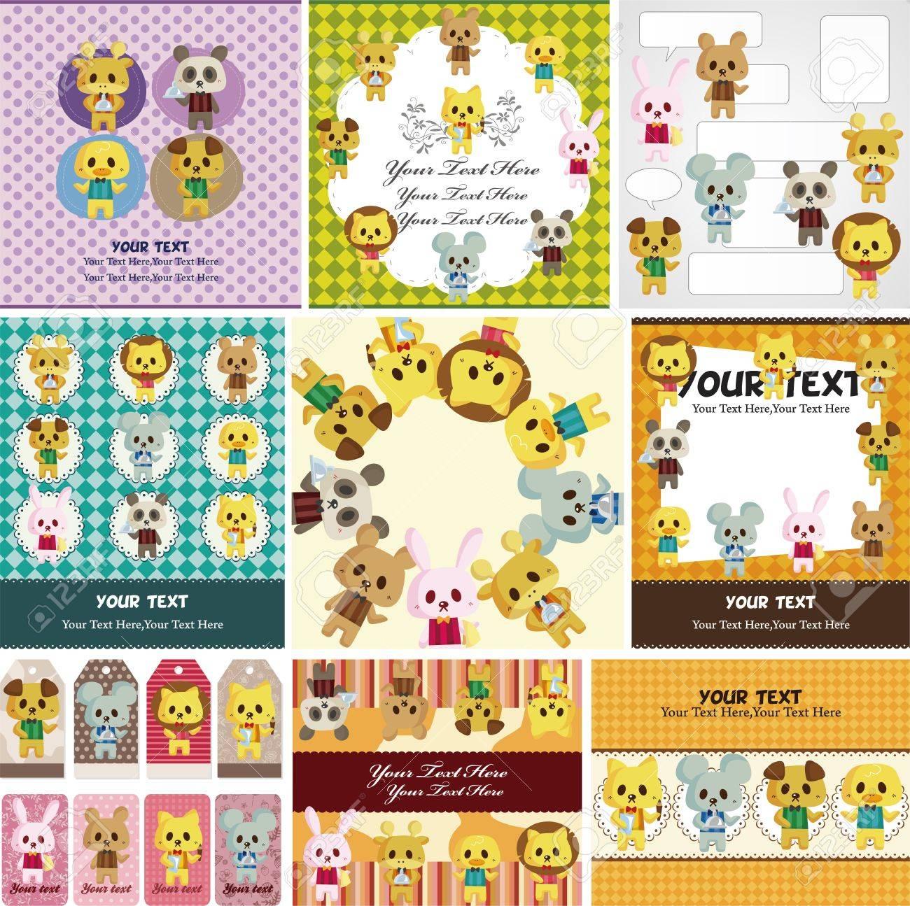 cartoon animal waiter card Stock Vector - 11658312