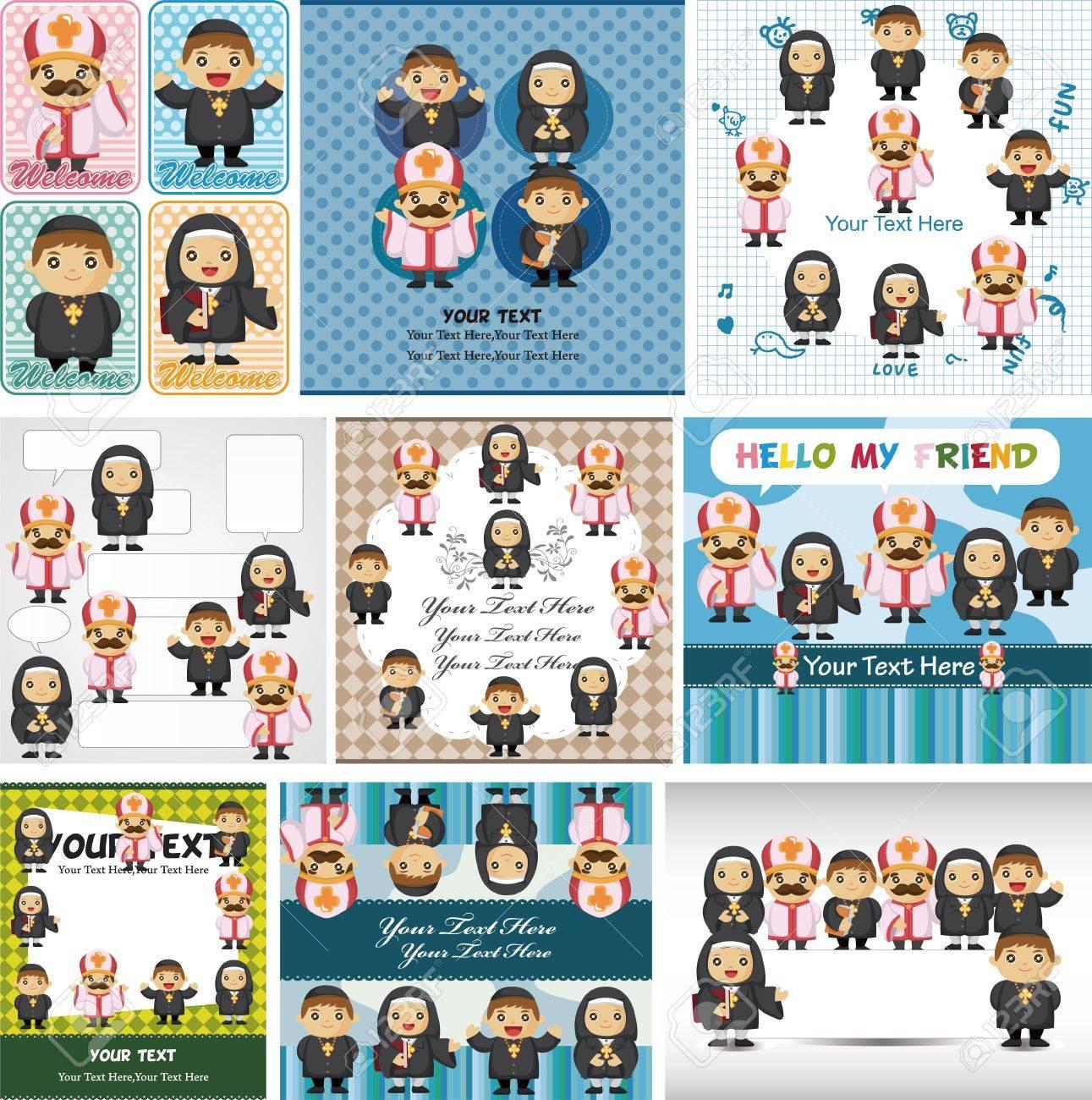 cartoon Priest and nun card Stock Vector - 11878942