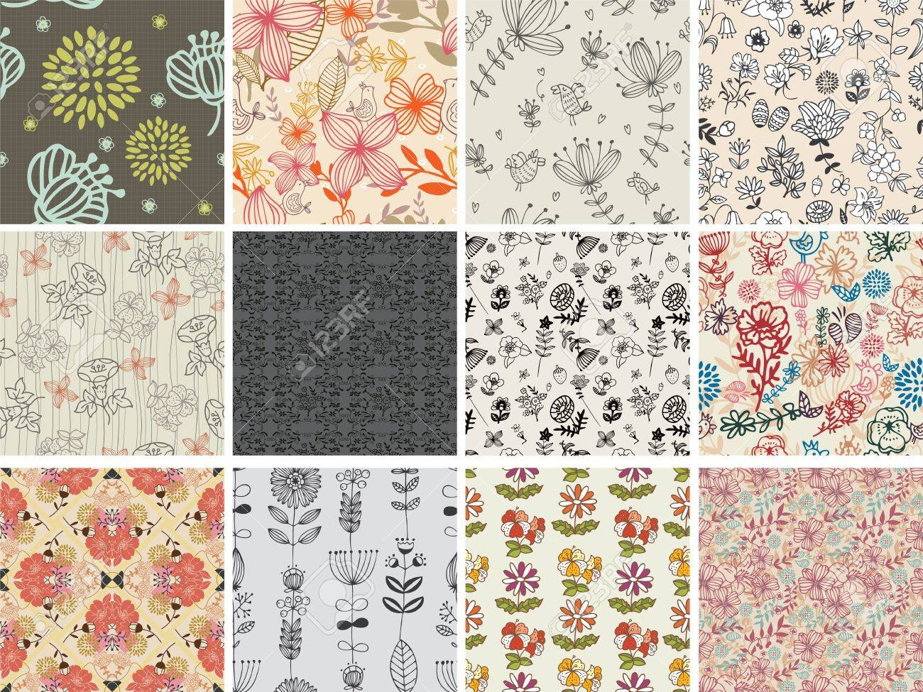 set of different flowers seamless pattern Stock Vector - 12030904