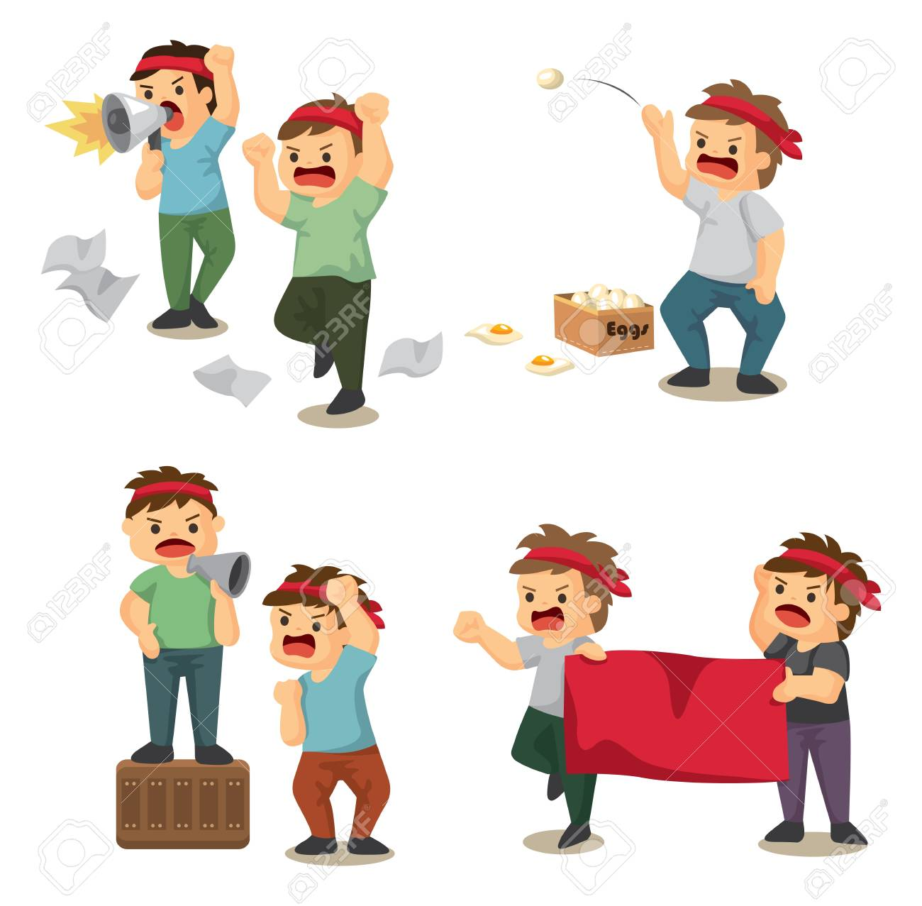 set of people protest Stock Vector - 12236677
