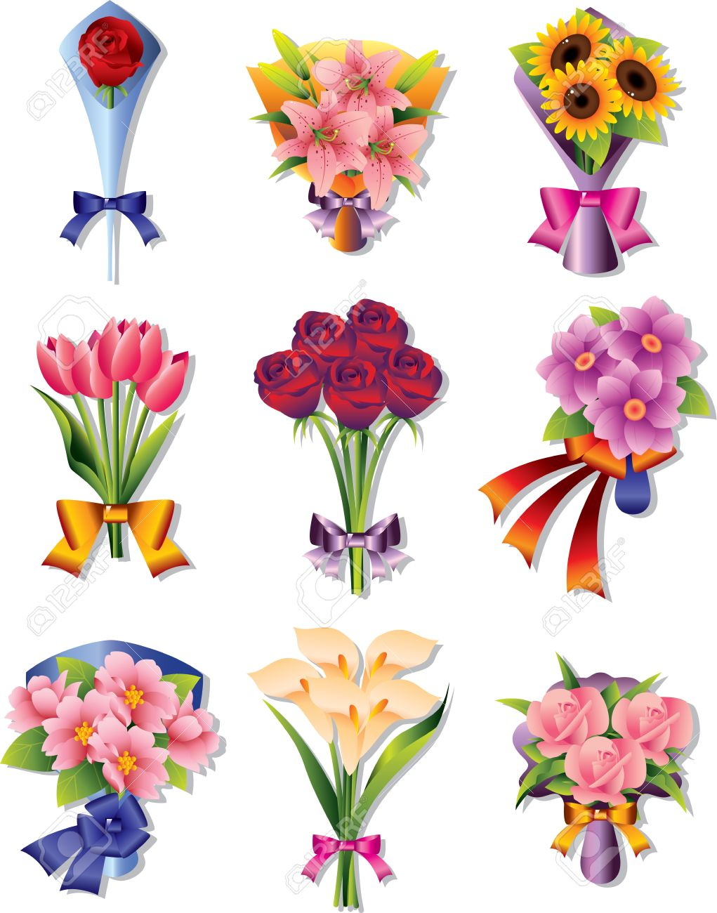 Flower Bouquet Icons Royalty Free Cliparts, Vectors, And Stock ...