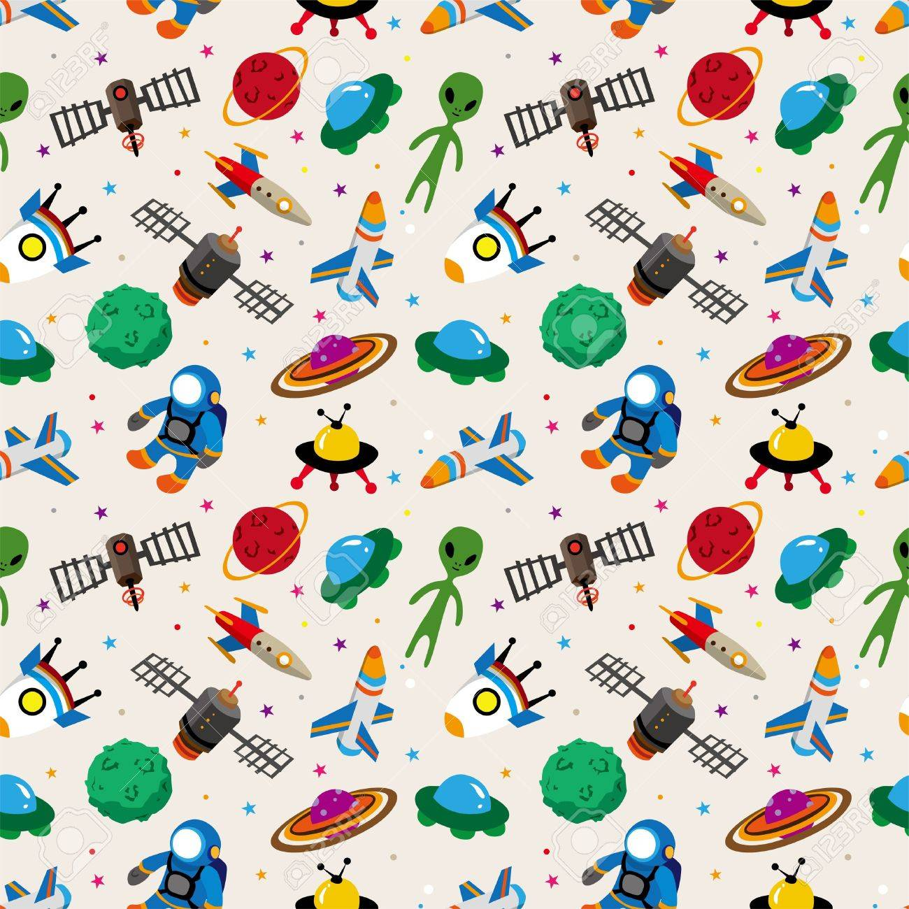 seamless space pattern Stock Vector - 12488020