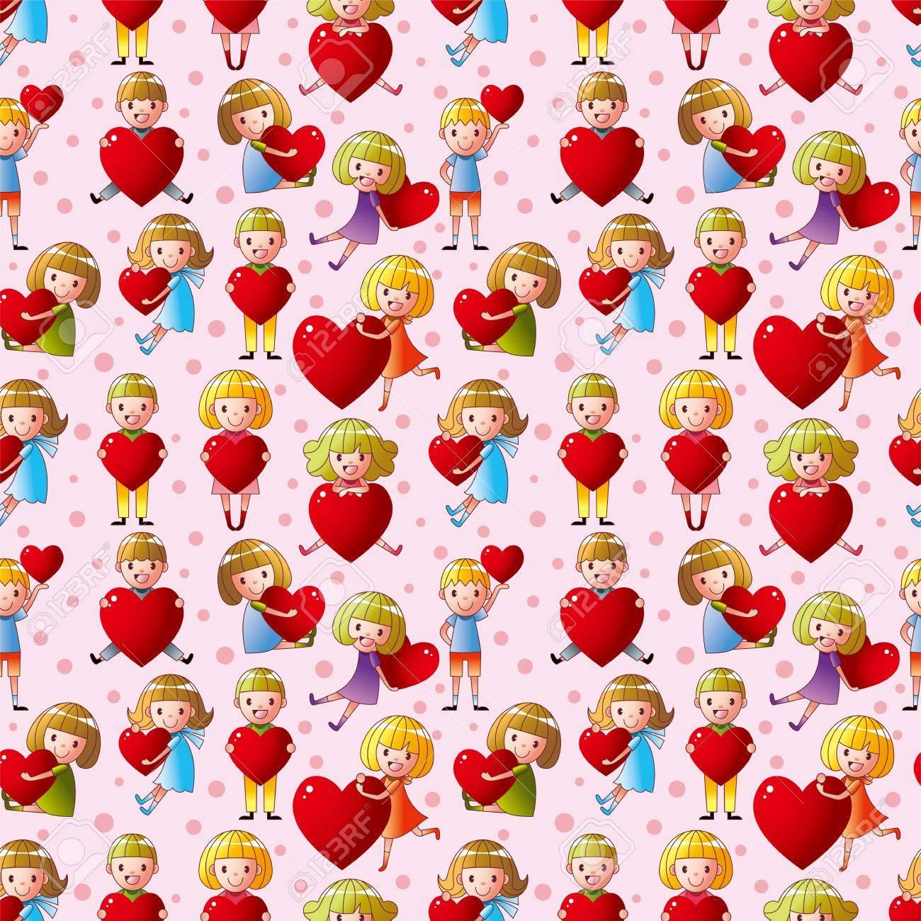 kid hug heart seamless pattern Stock Vector - 12488066