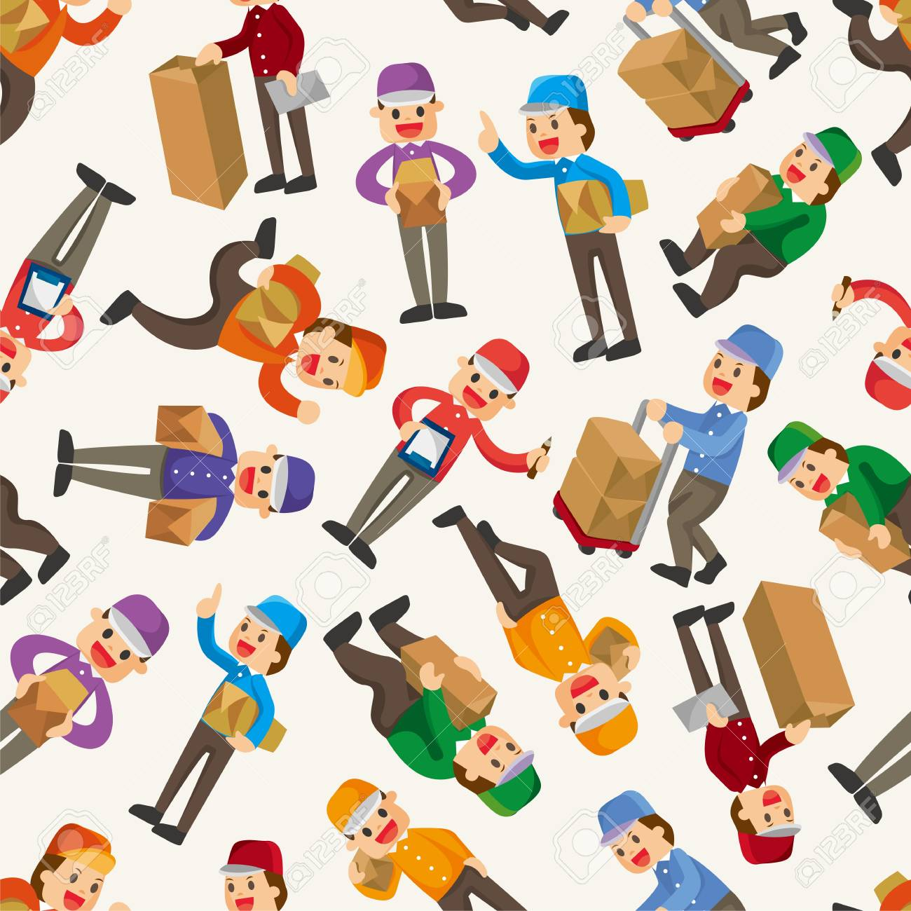 Express delivery people seamless pattern Stock Vector - 12816560