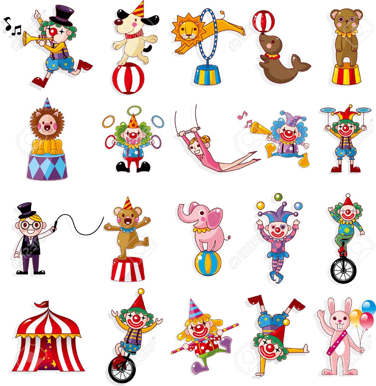 cartoon happy circus show icons collection Stock Vector - 13012692