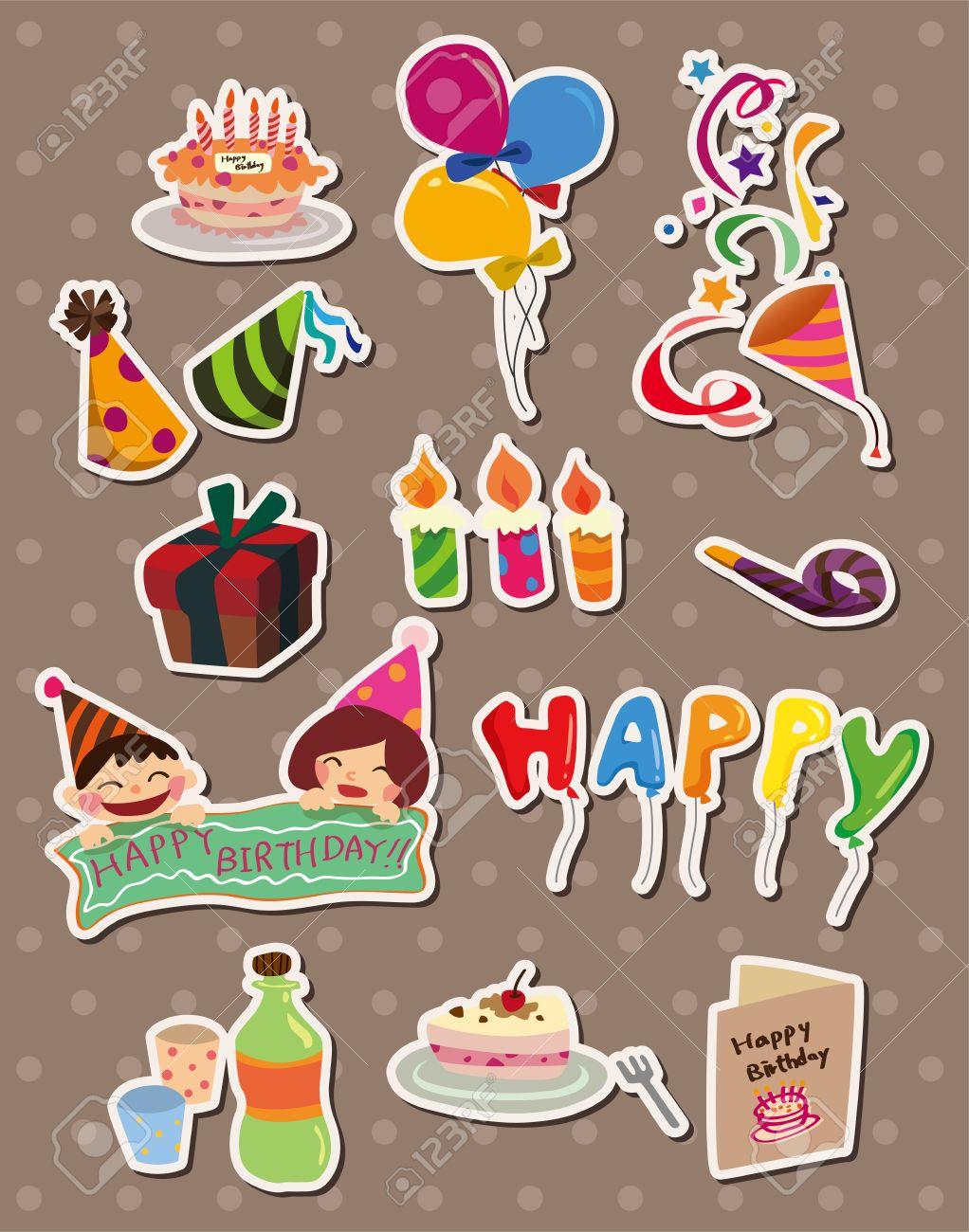 Birthday stickers stock vector 13122055
