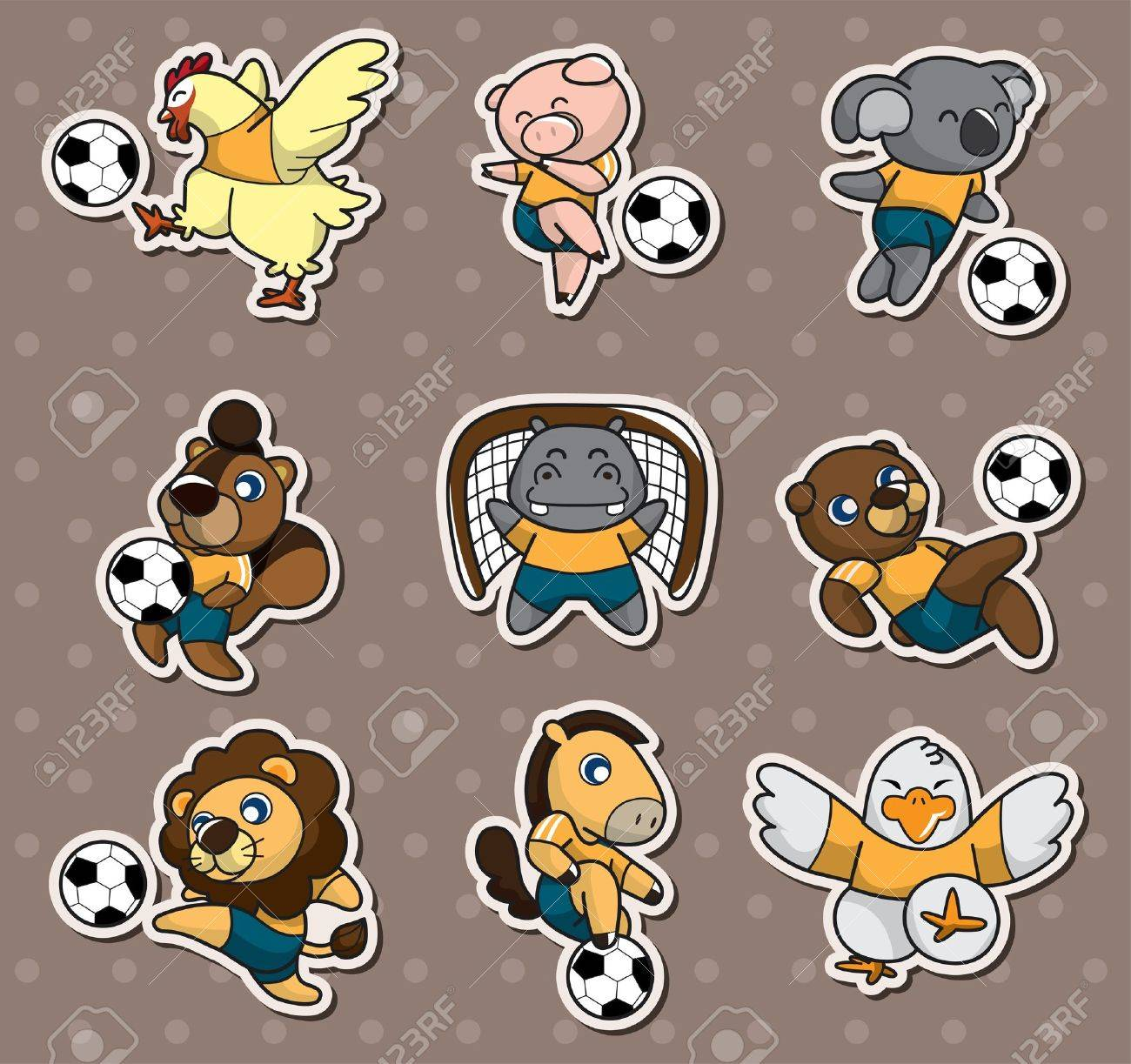 cartoon animal soccer player stickers Stock Vector - 13397721