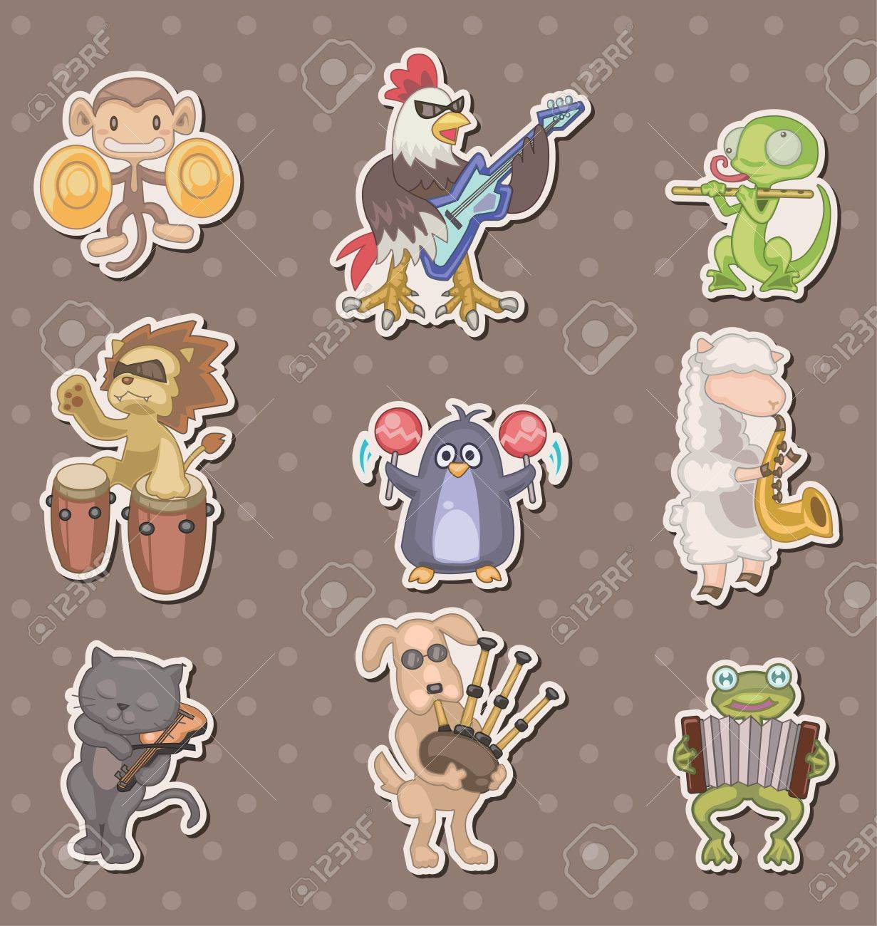 animal play music stickers Stock Vector - 13397844