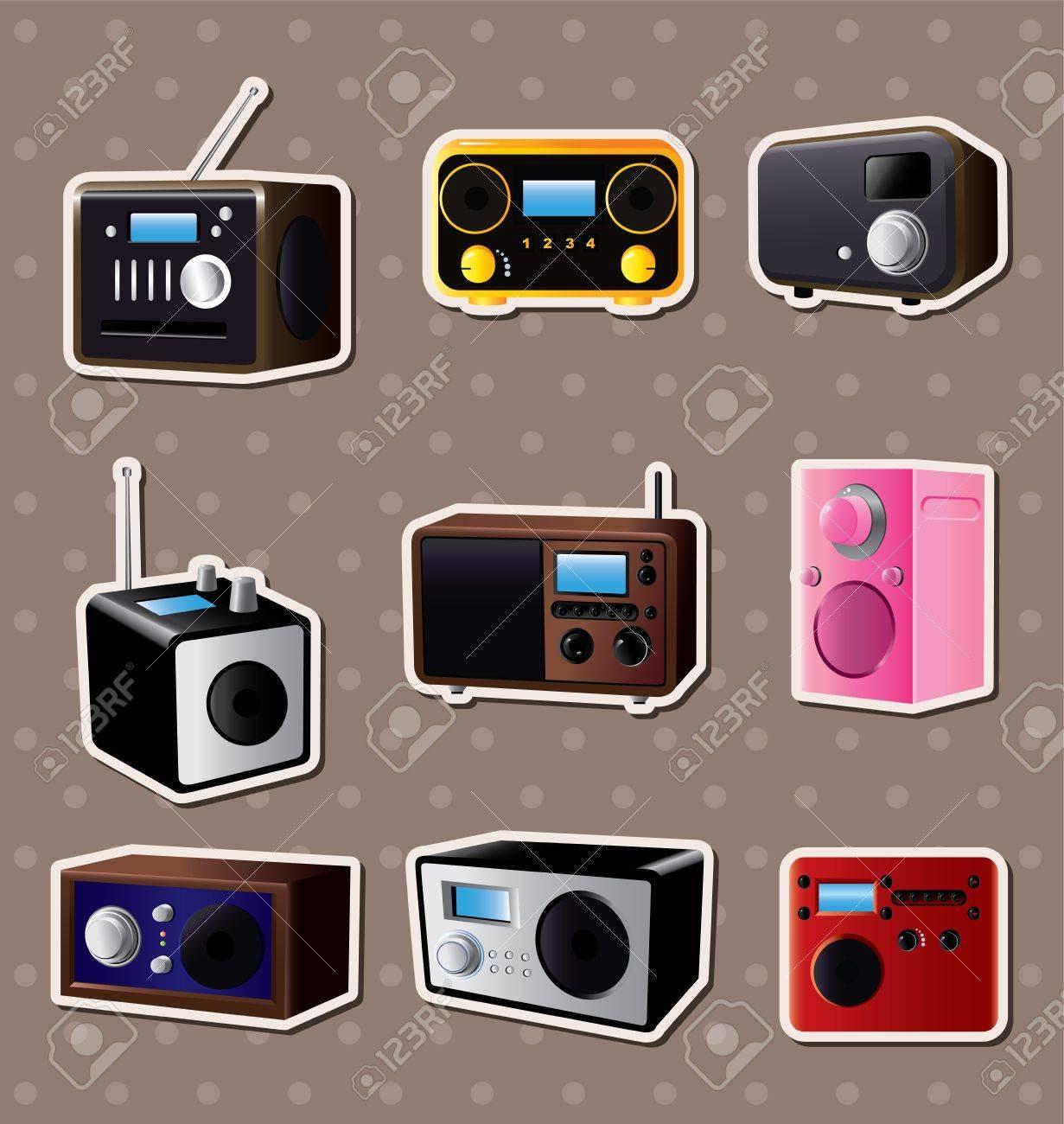 radio stickers Stock Vector - 13477990