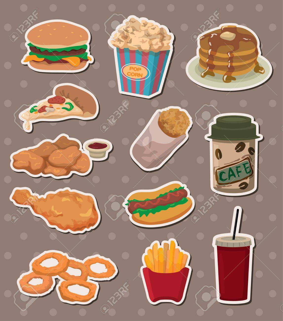 fast food stickers Stock Vector - 13586810