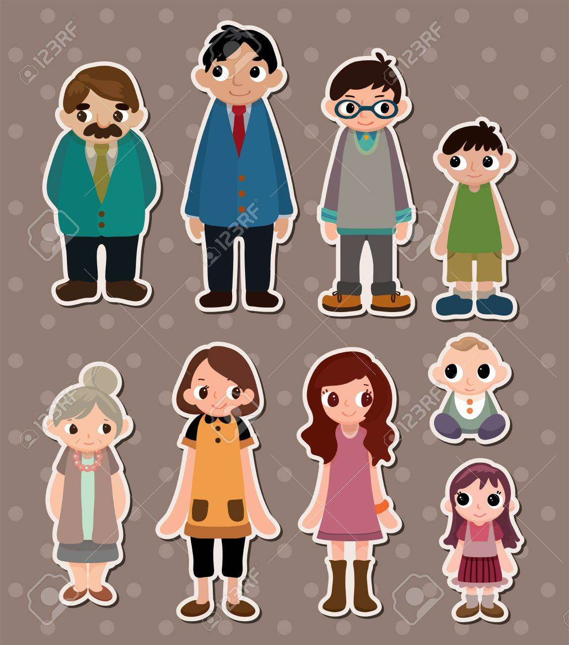 Family stickers stock vector 13586698