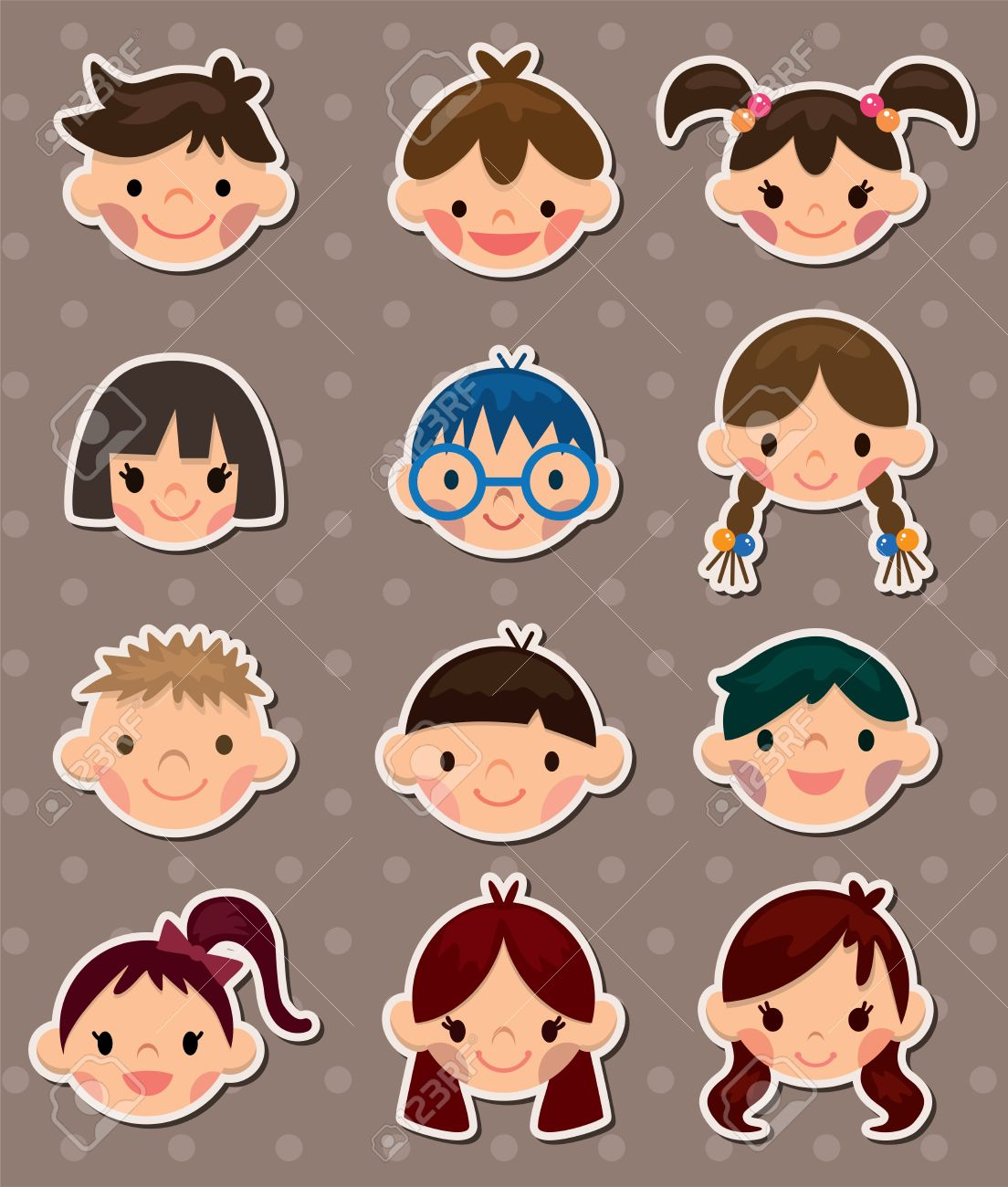 kid face stickers Stock Vector - 13586773