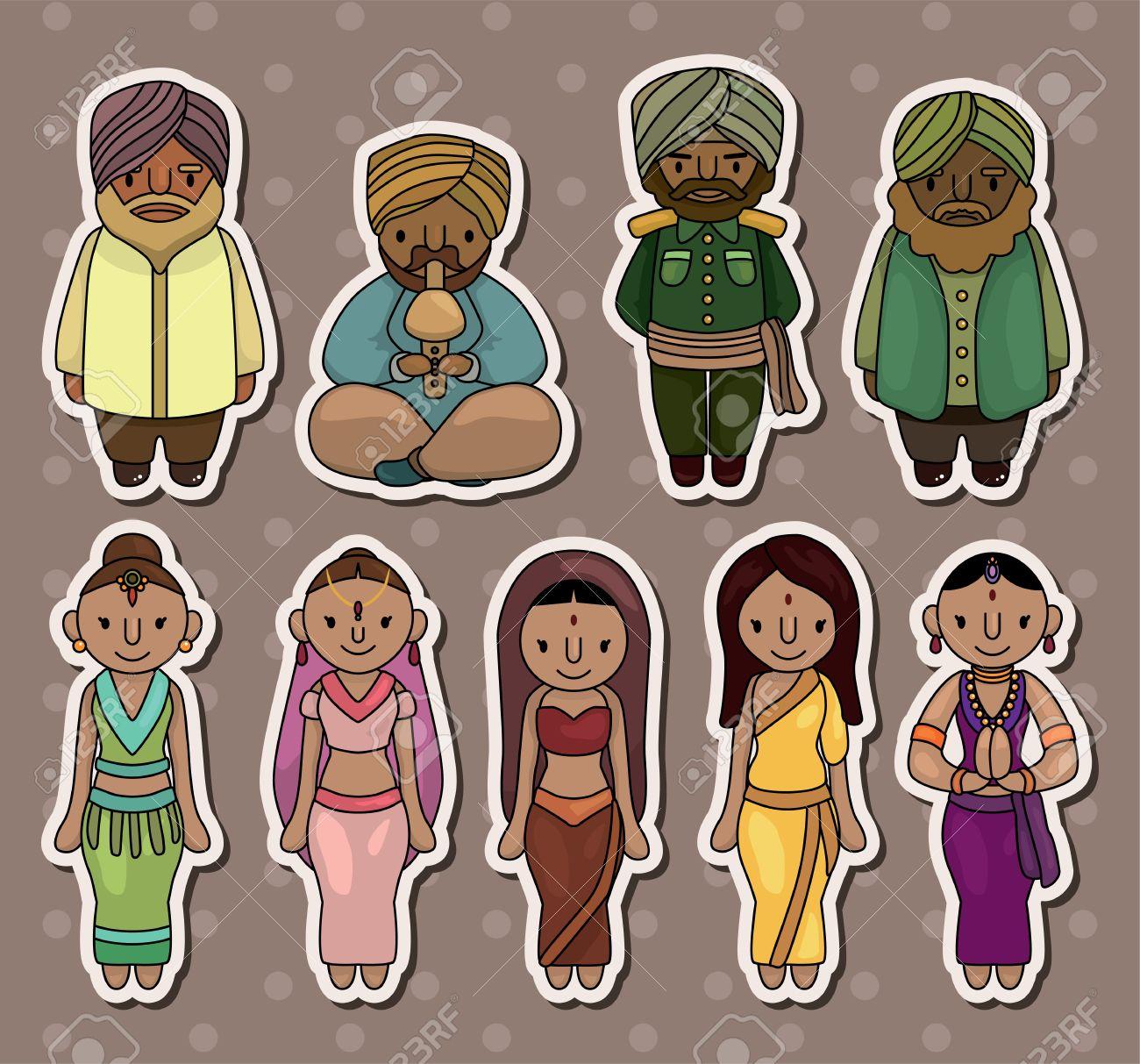 cartoon Indian stickers Stock Vector - 13706288