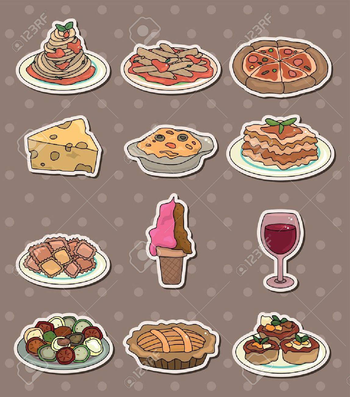 Italy food stickers Stock Vector - 13706299