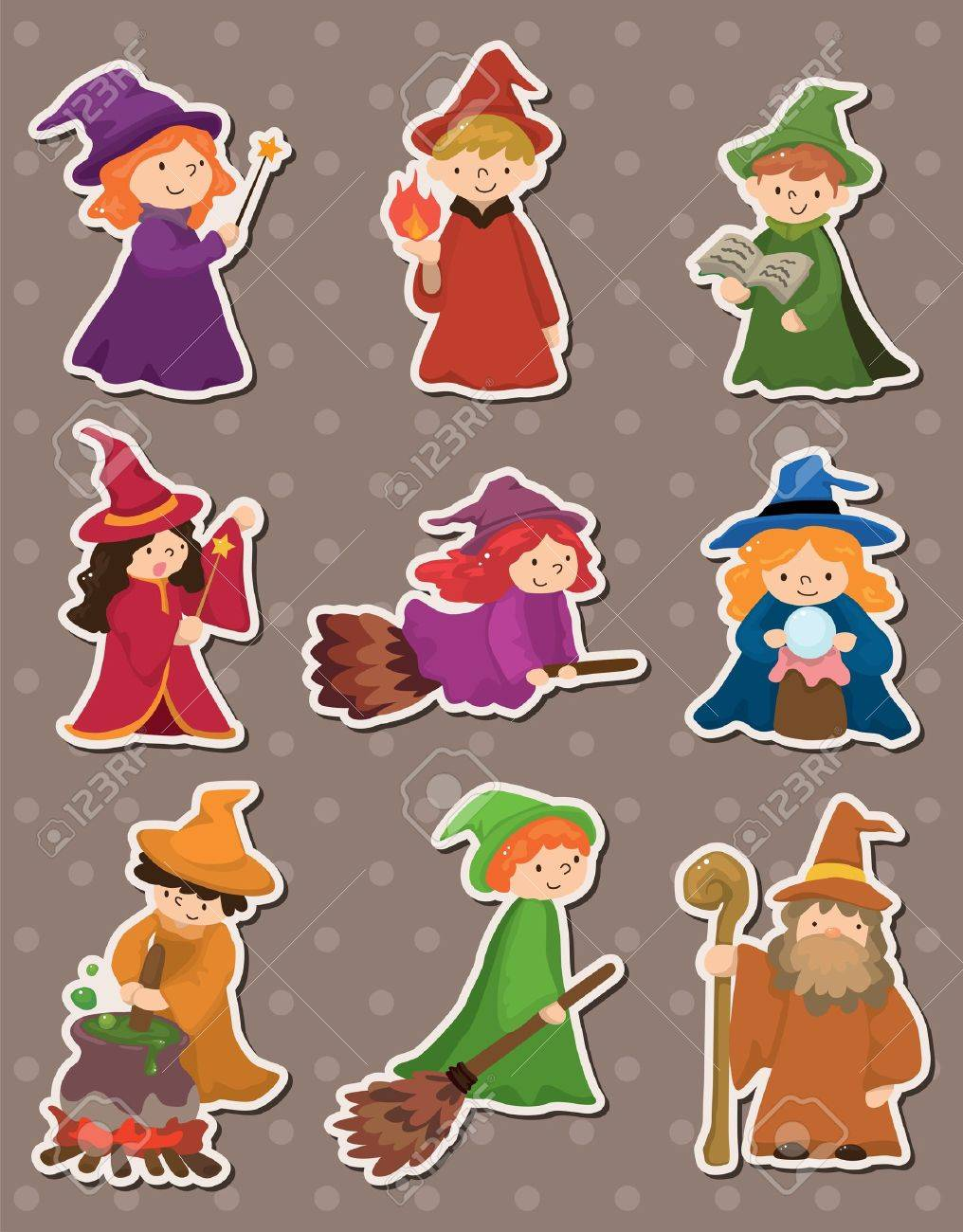 cartoon Wizard and Witch stickers Stock Vector - 13811738