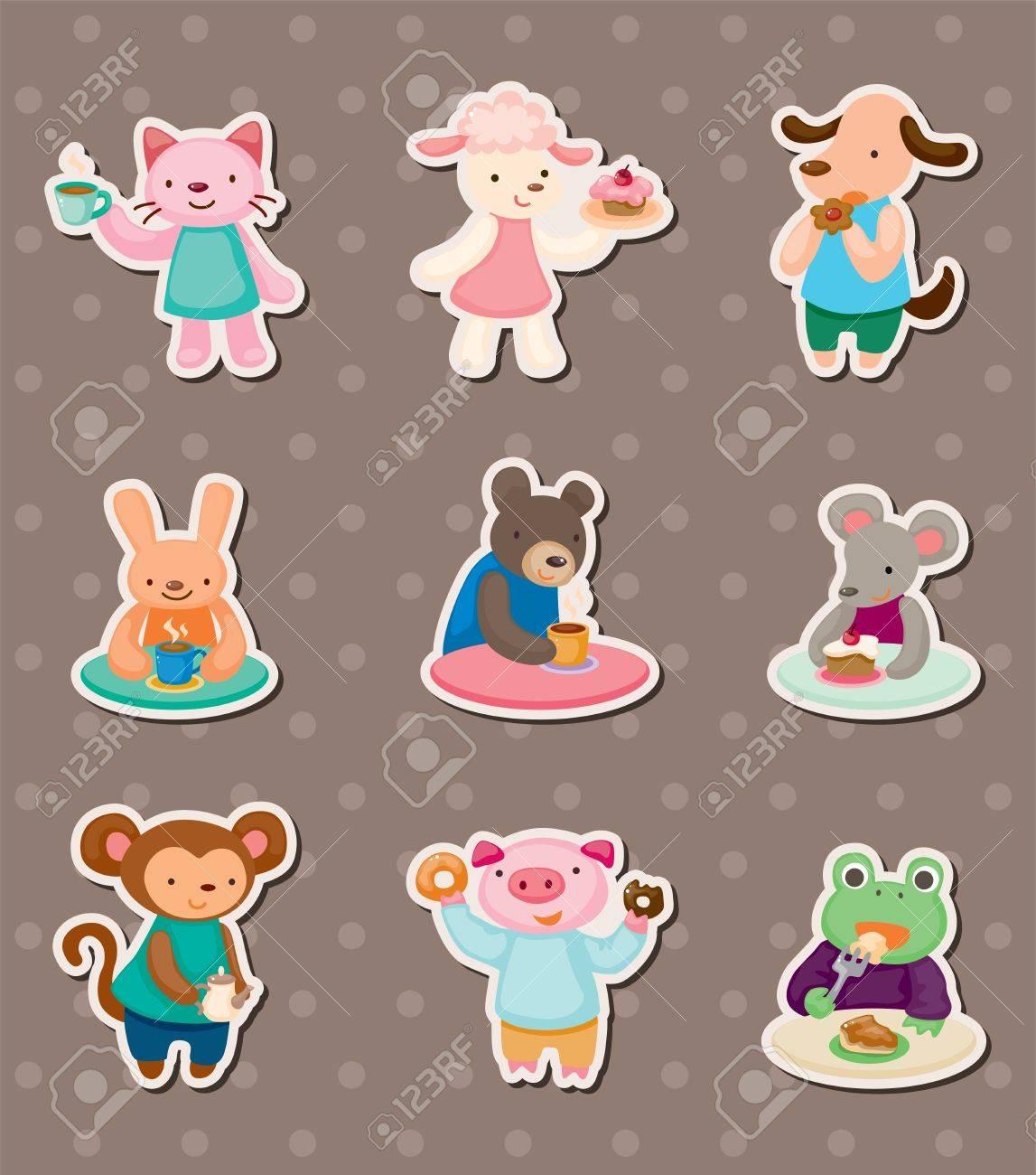 animal tea time stickers Stock Vector - 14091863