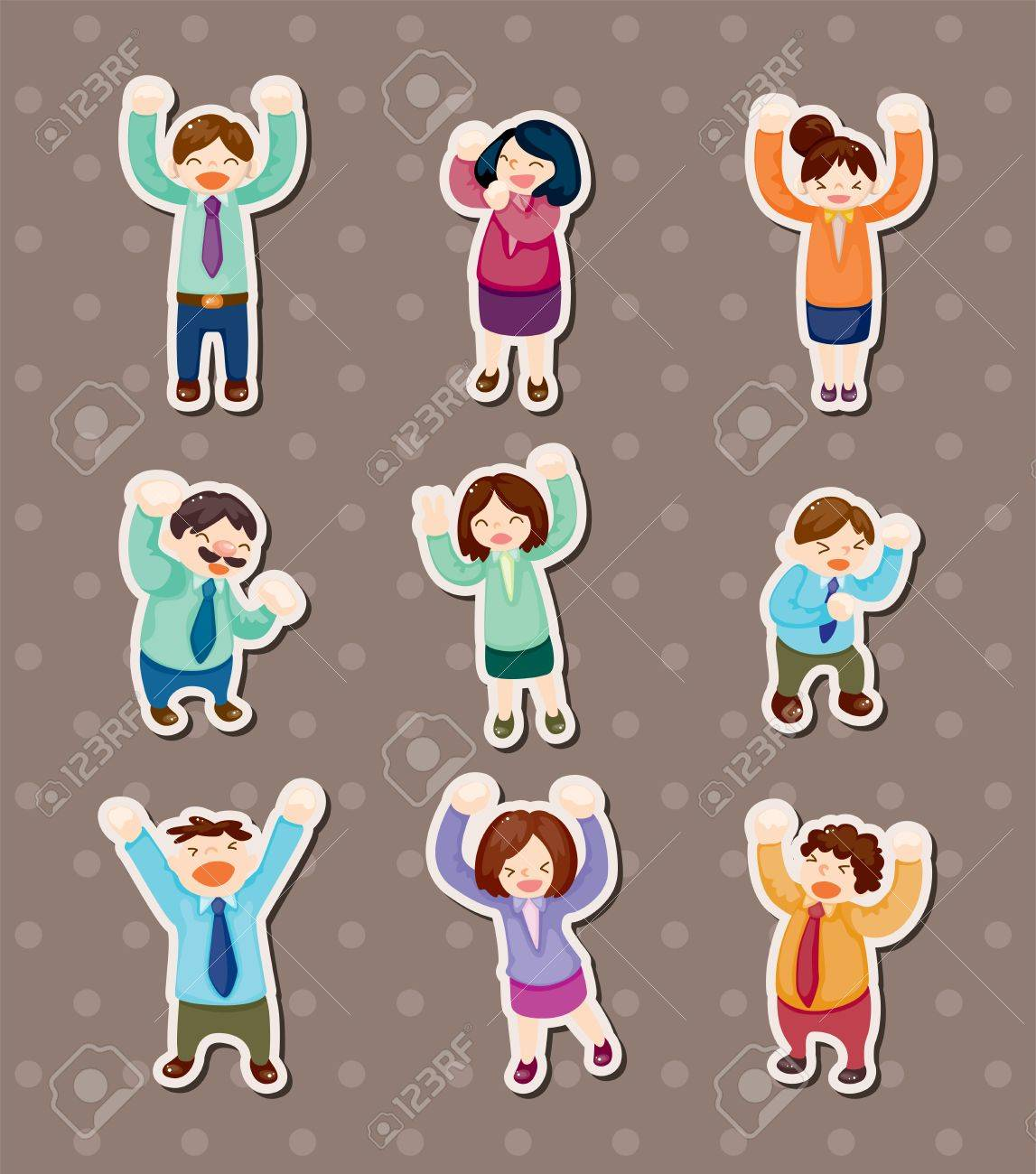 happy office worker stickers Stock Vector - 14091864