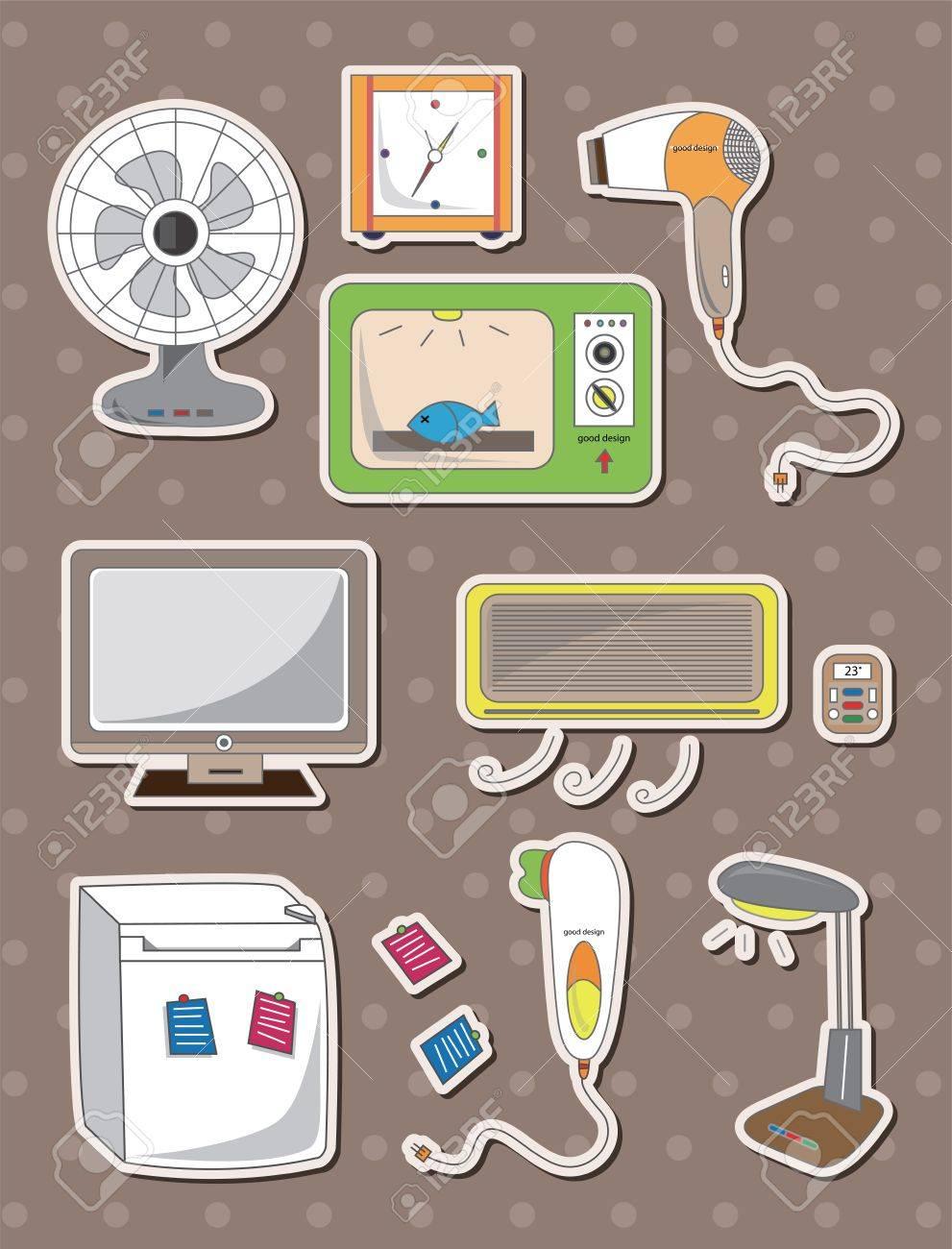 cartoon home appliance stickers Stock Vector - 14366157