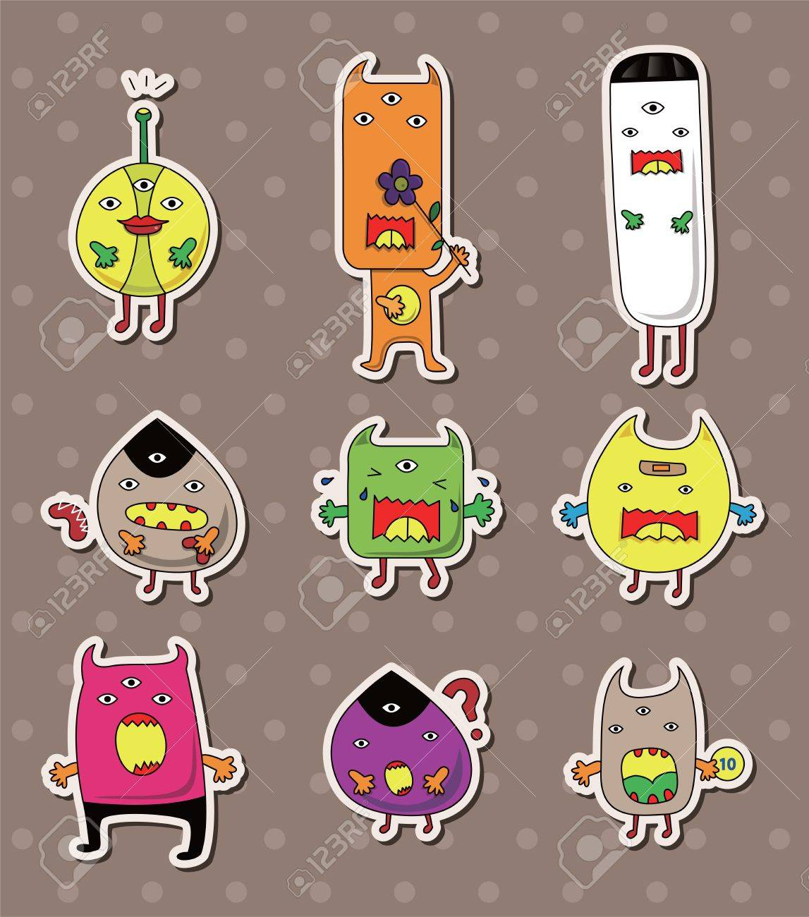 monster stickers Stock Vector - 14366160