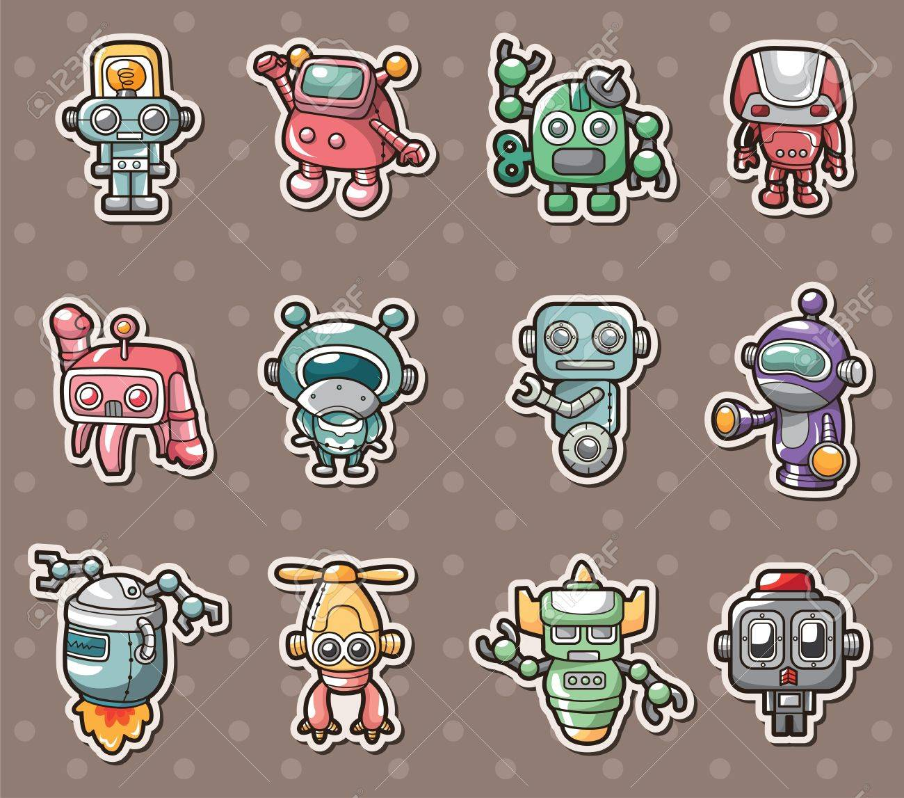 robot stickers Stock Vector - 14492654