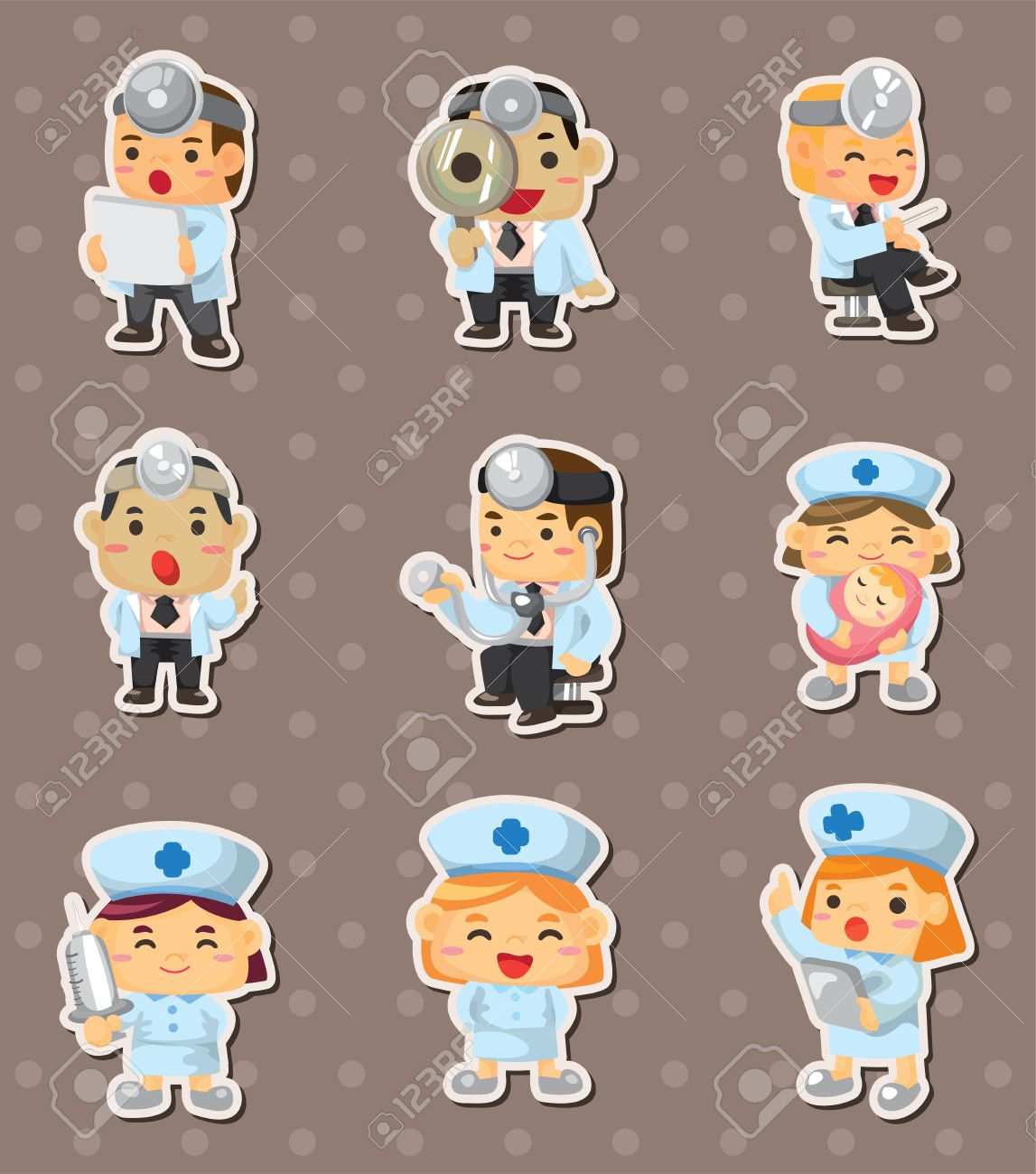 doctor and nurse stickers Stock Vector - 14596432