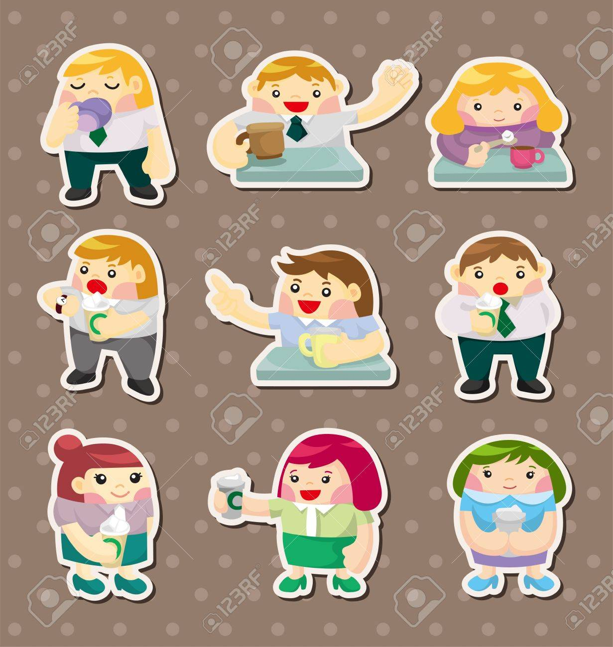 cartoon office worker tea time stickers Stock Vector - 14678866