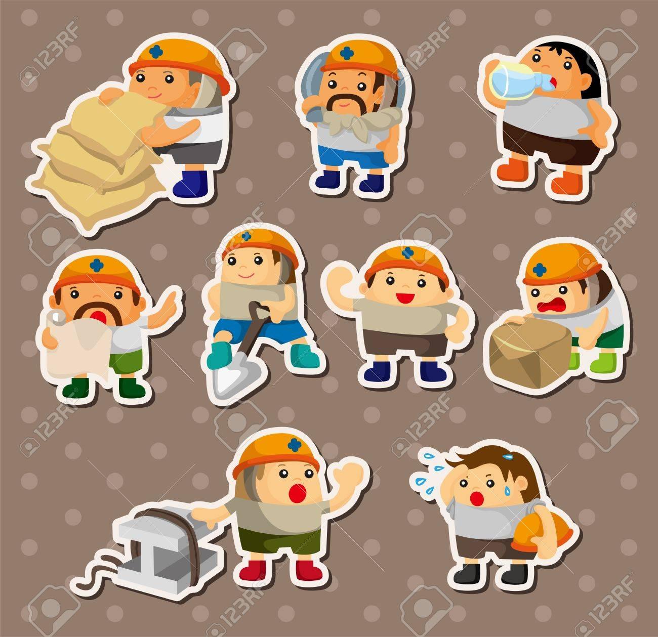 cartoon worker stickers Stock Vector - 14678867
