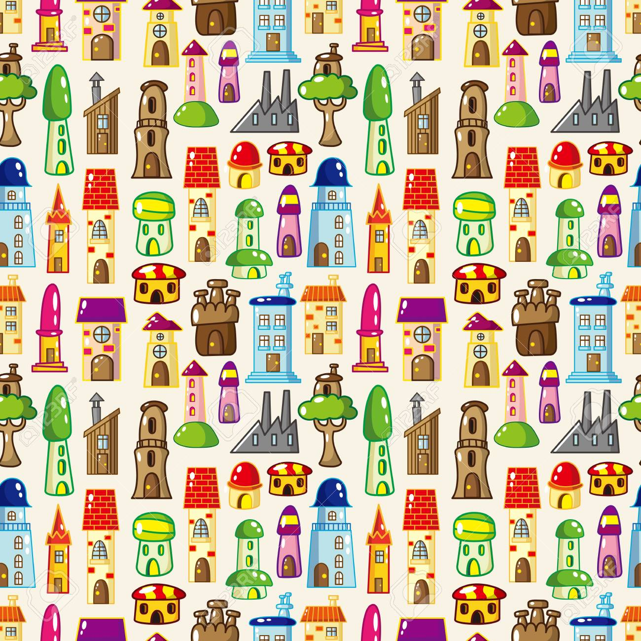 seamless house pattern Stock Vector - 14678876
