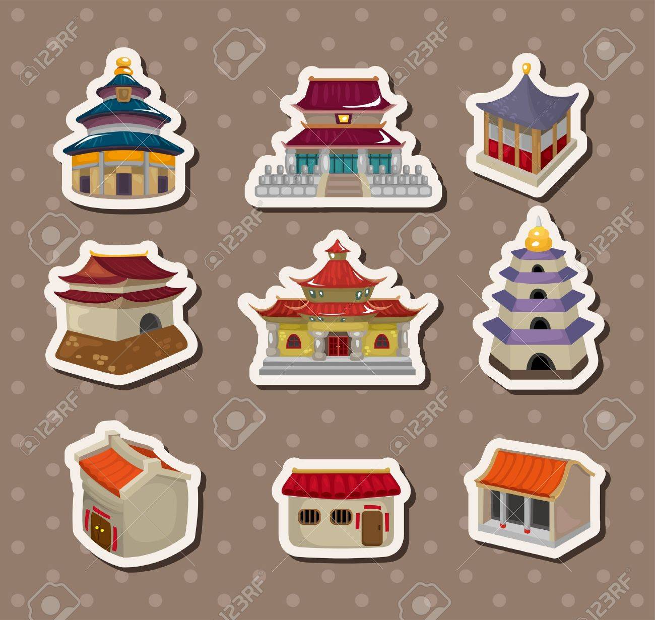 Chinese house stickers - 14829393