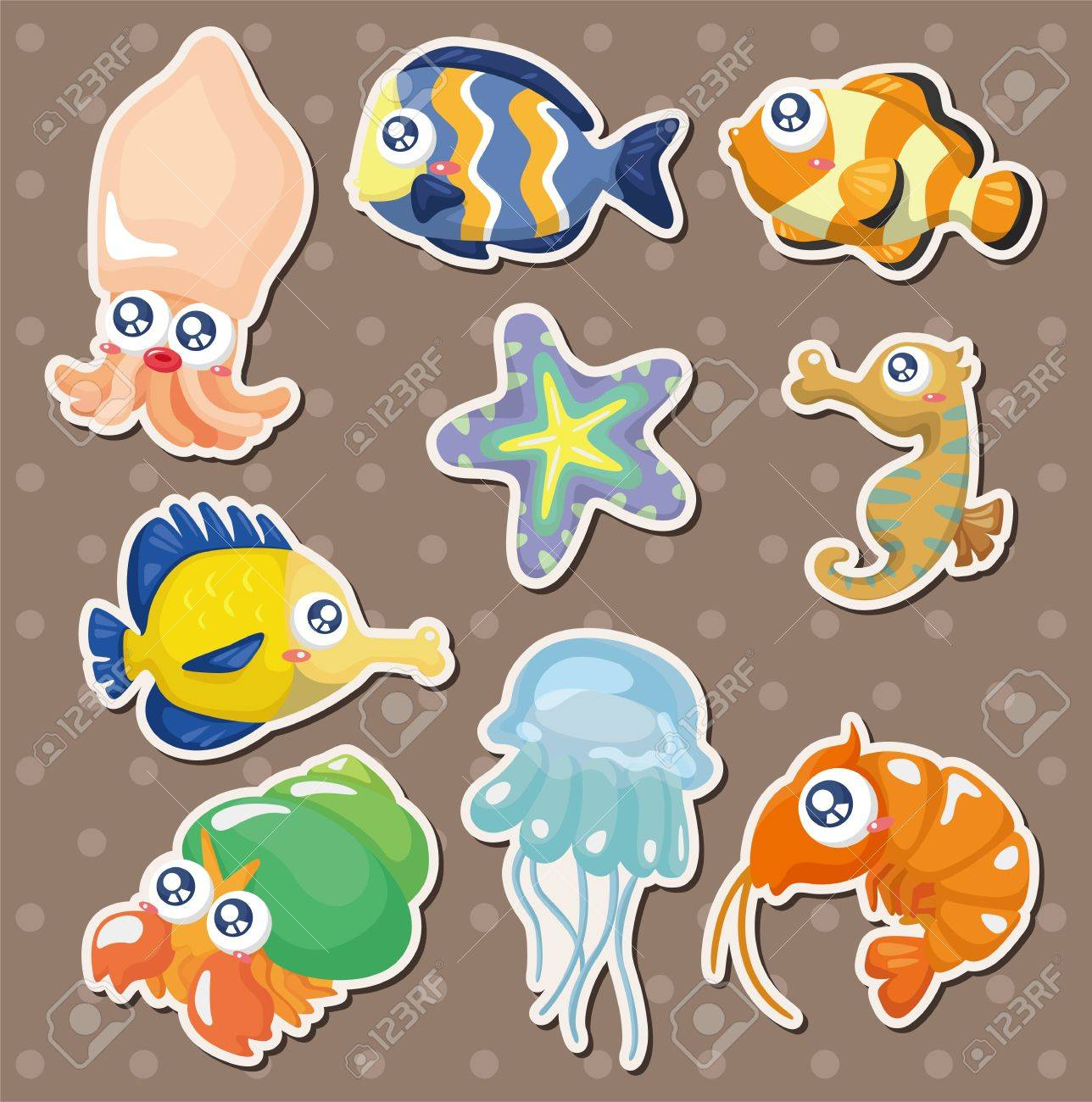 cartoon fish collection stickers Stock Vector - 14829420