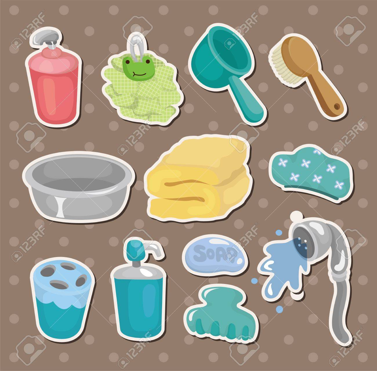 Cartoon Bathroom Equipment Stickers Royalty Free Cliparts Vectors