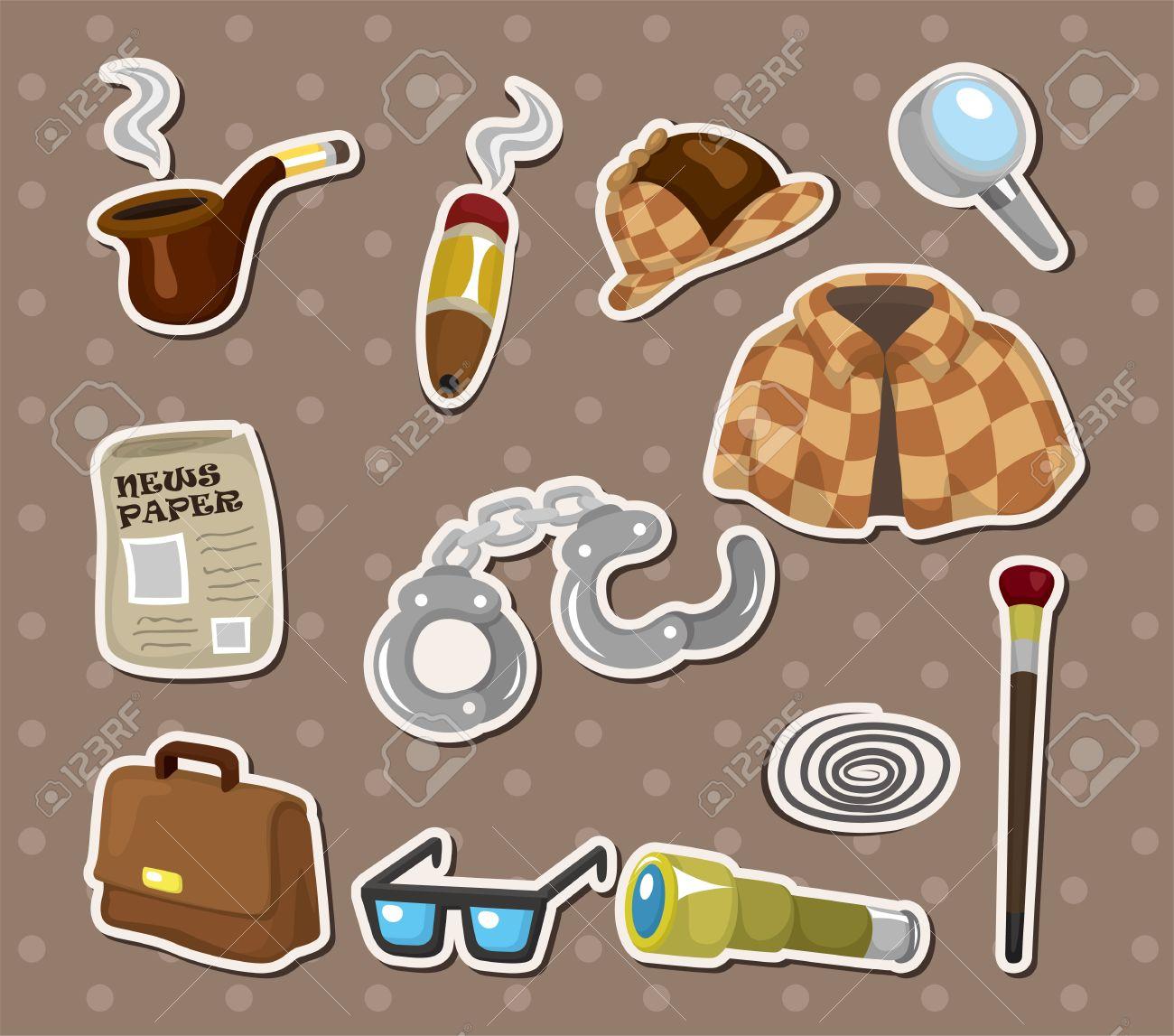 Cartoon detective equipment stickers Stock Vector - 14829430